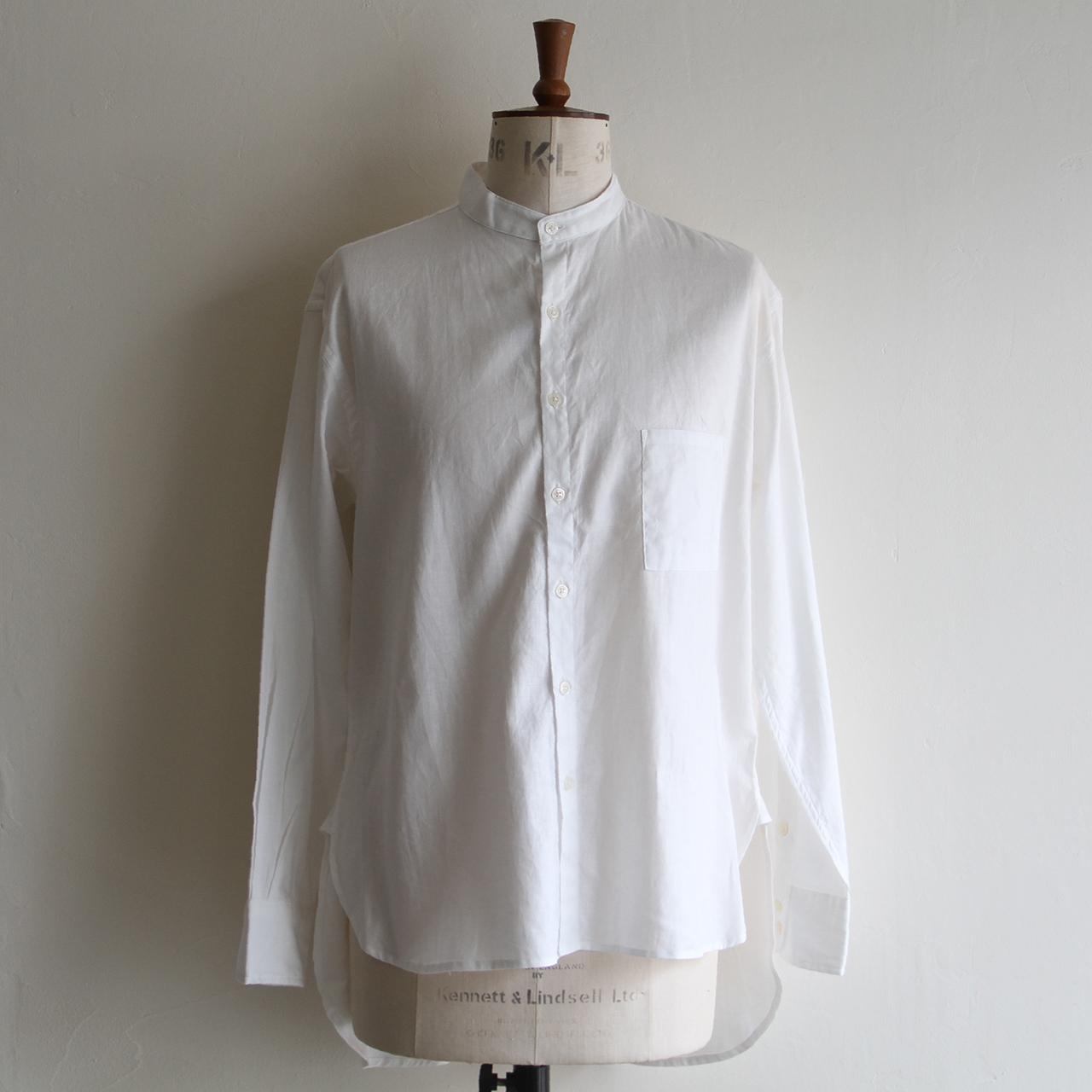 H.UNIT【 mens 】cotton linen twill bandcollar shirts