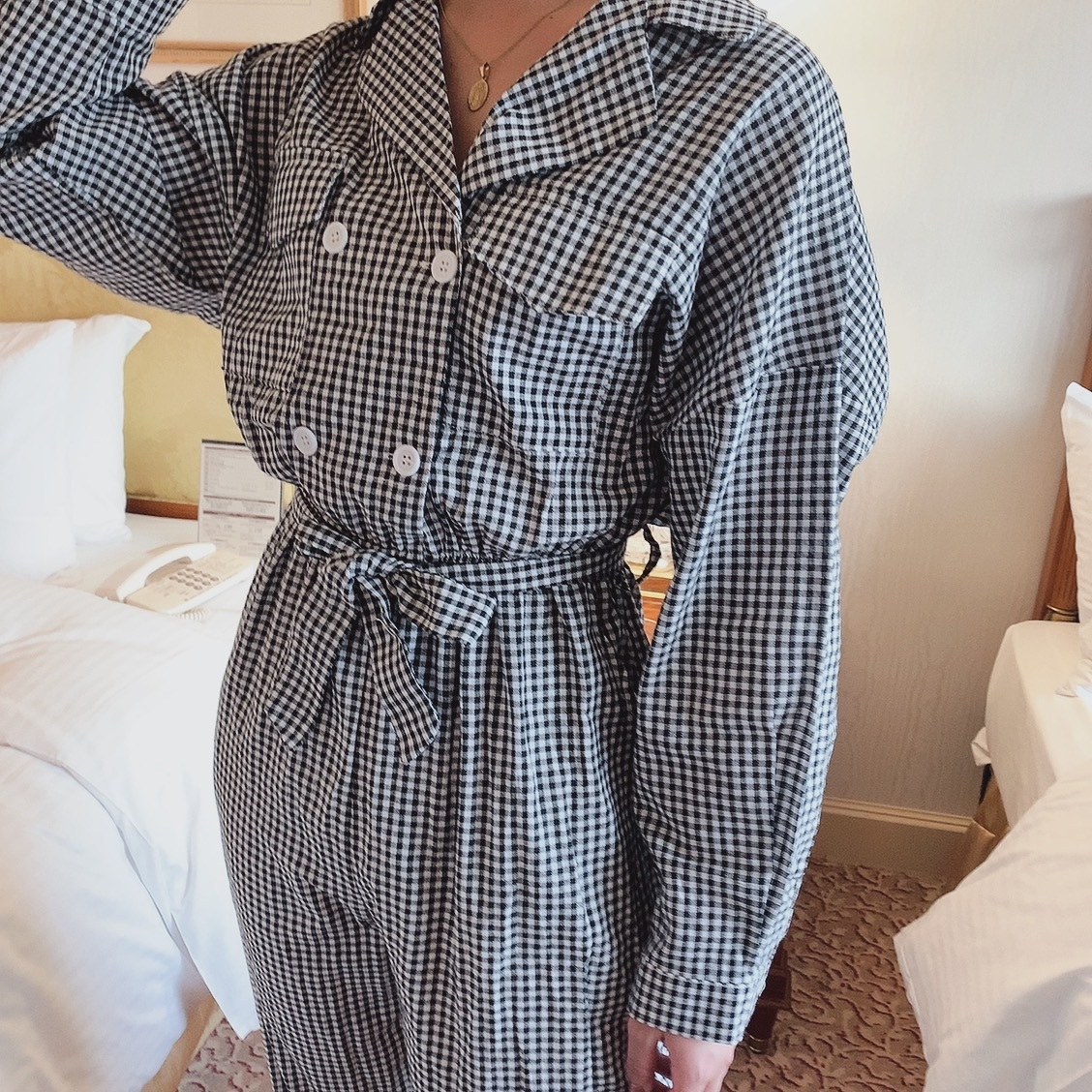 gingham check rompers