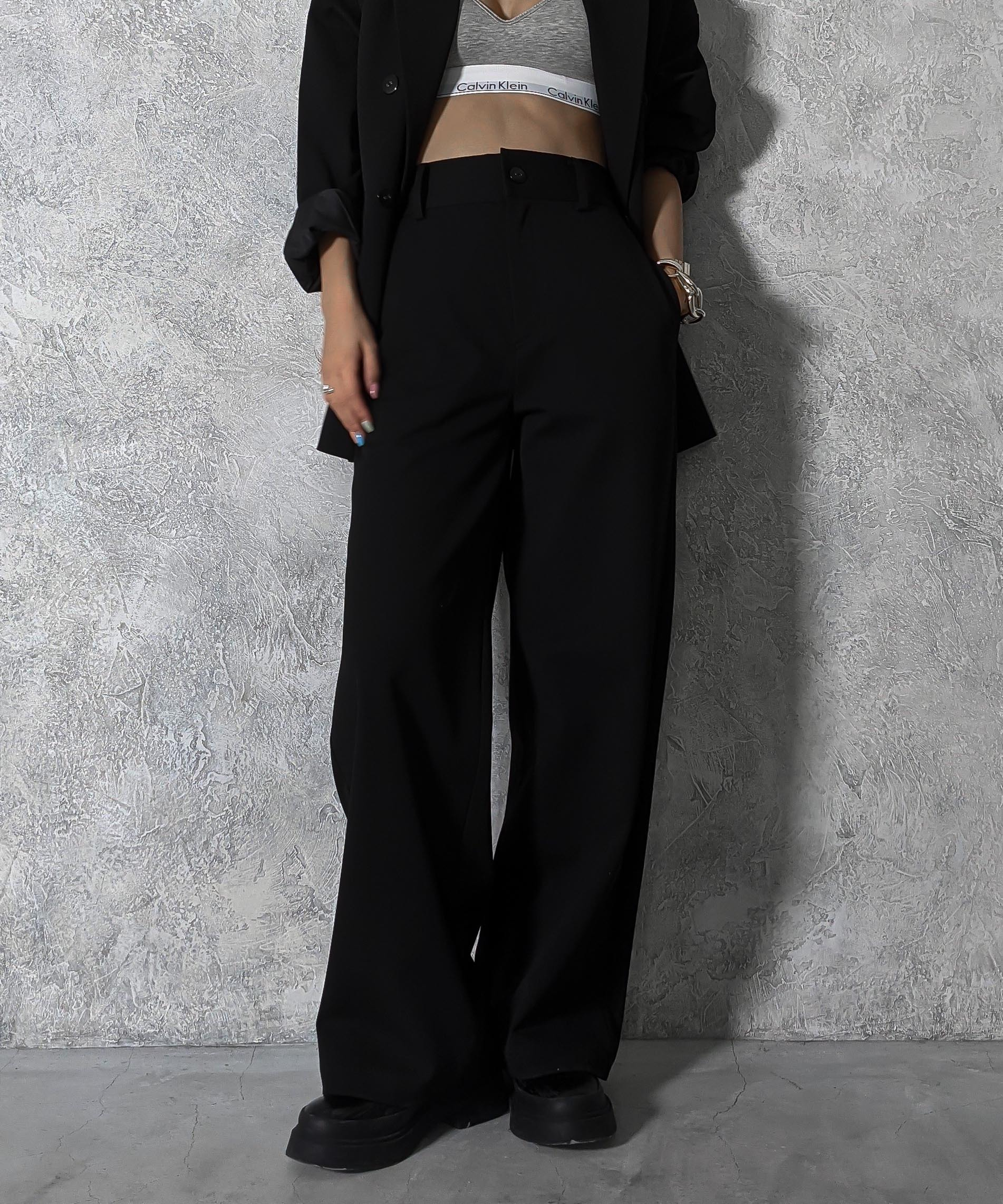 Piping wide slacks pants