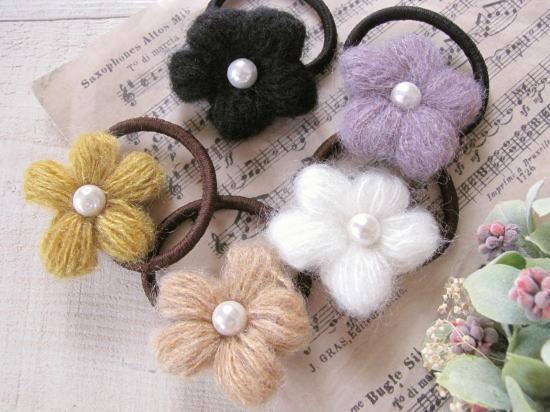 秋冬素材*毛糸のお花ヘアゴム/セレクト雑貨