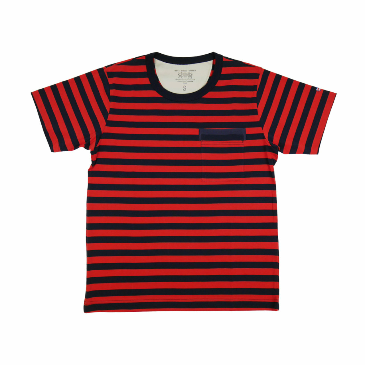 【OR GLORY】 ボーダー ポケット Tシャツ 〈Red × Navy〉