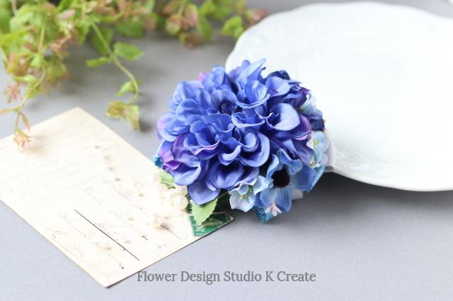 ブルーダリアのコサージュ(ヘッドドレス可)  青 ブルー フォーマル お出掛け 冠婚葬祭