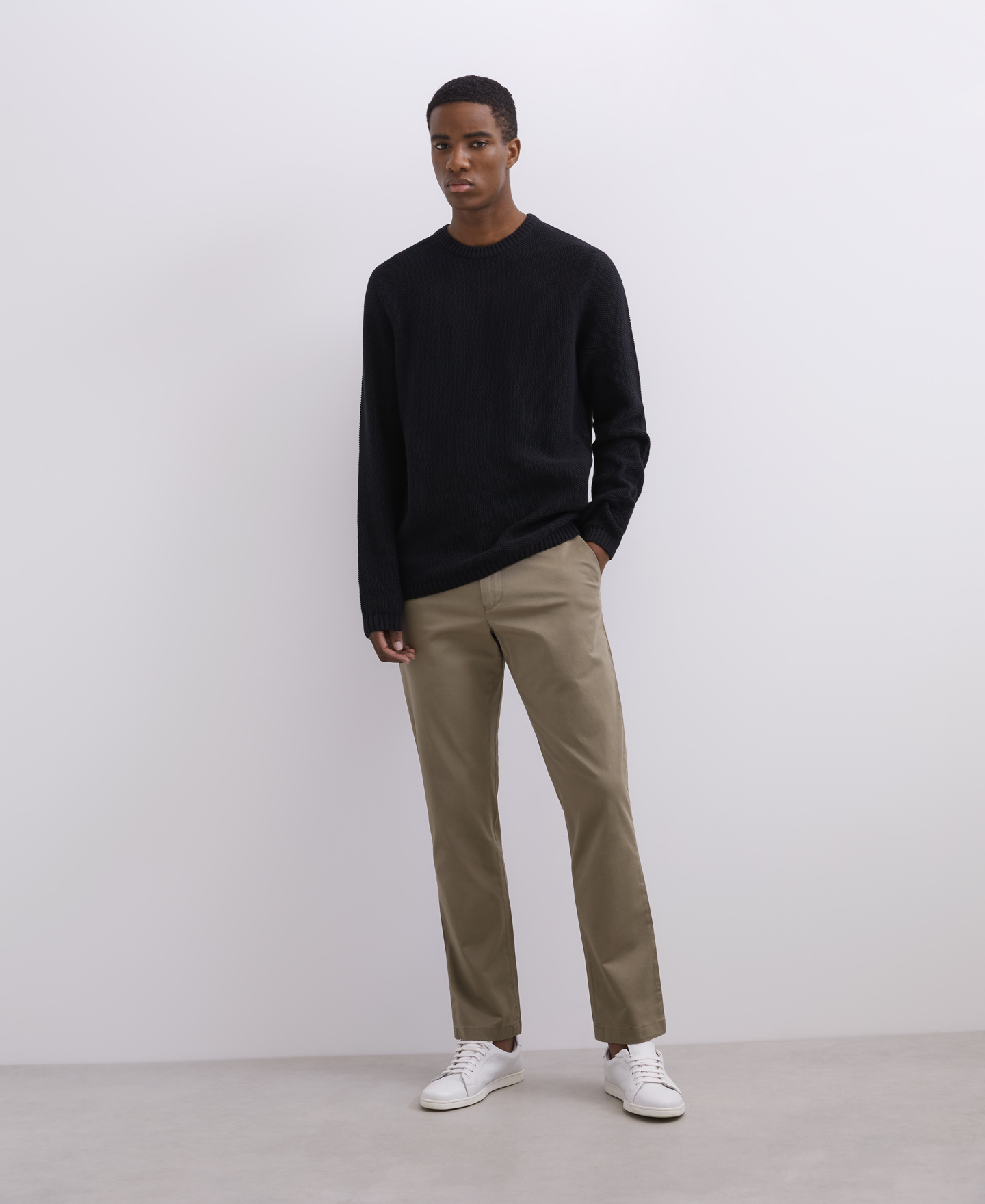 ELASTIC COTTON CHINO TROUSERS [168561259511]