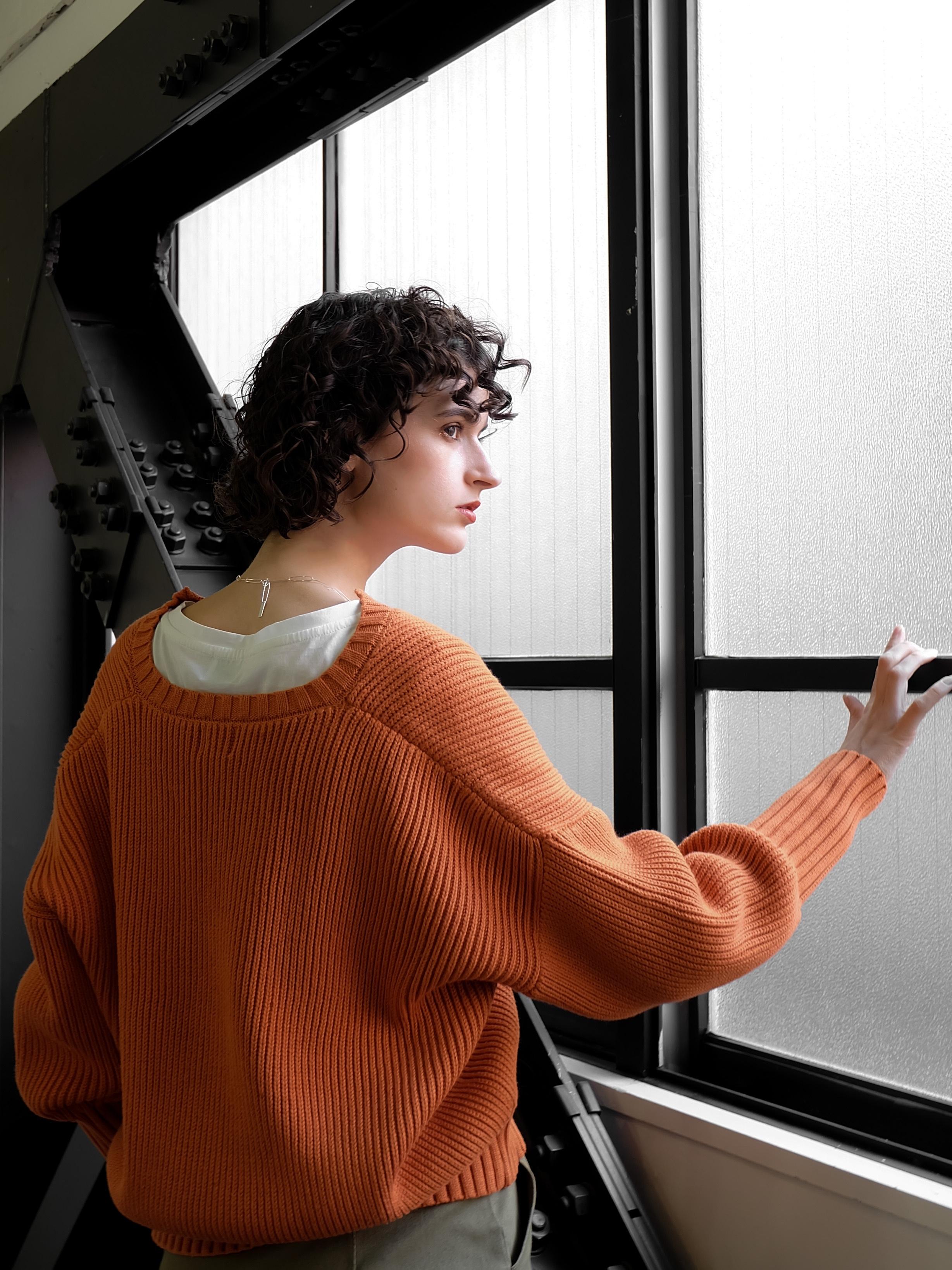 deep skipper knit(orange)