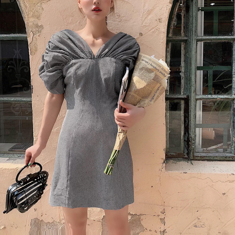 shirring sleeve check dress