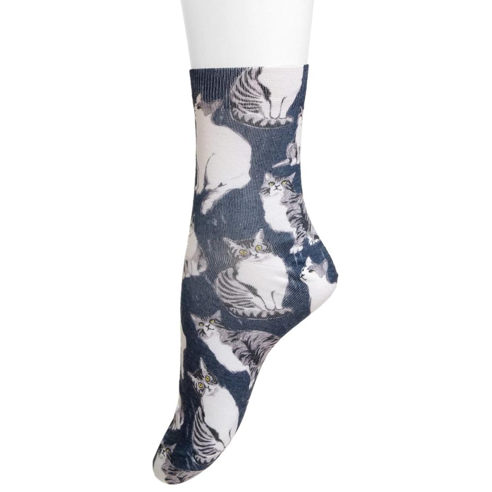 猫靴下(春夏街角ネコスケッチソックス)23cm~25cm