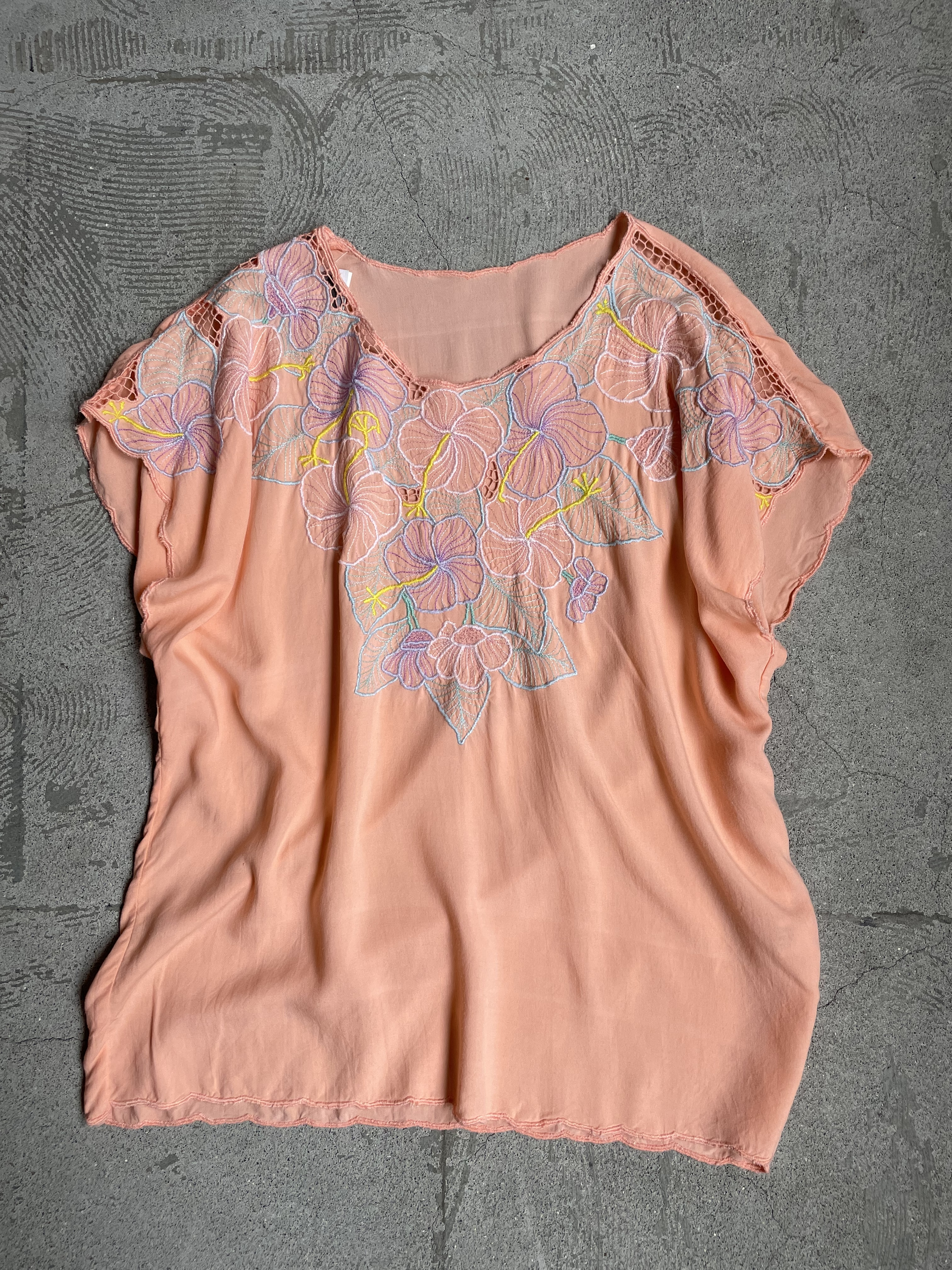 vintage floral embroidery rayon blouse
