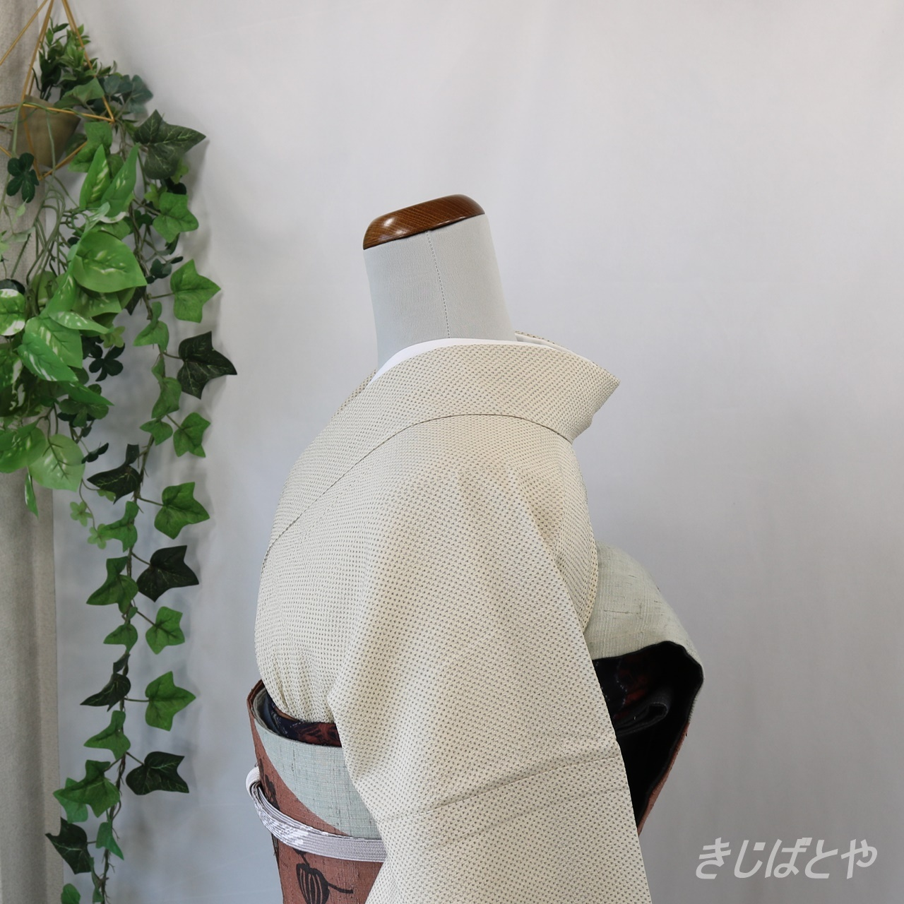 正絹紬 象牙色の単衣