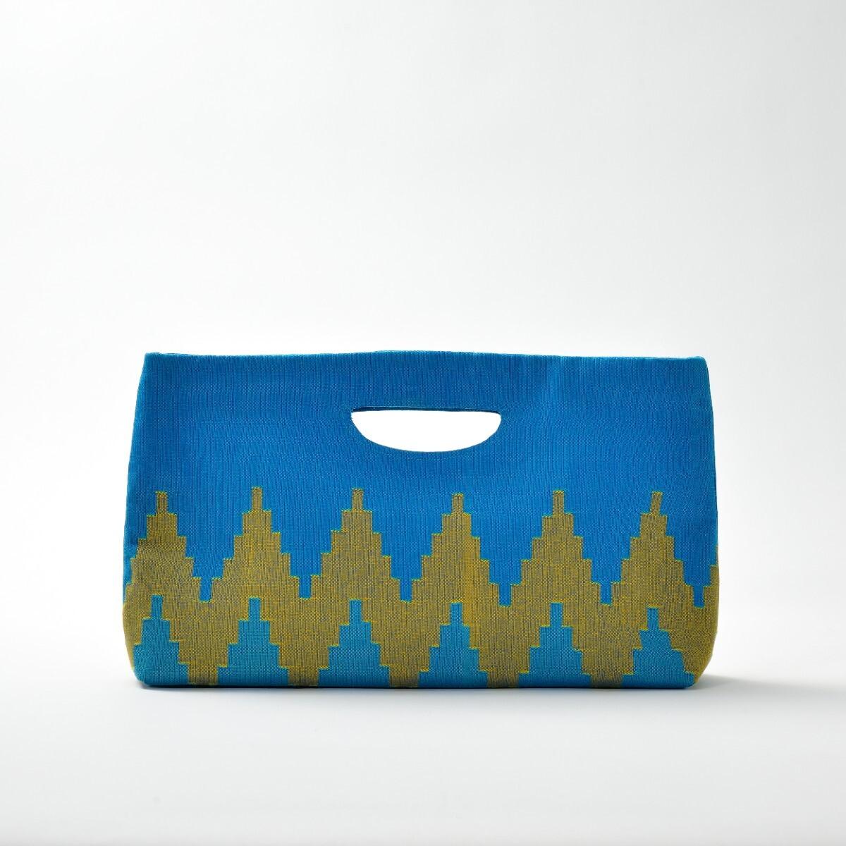 手織りペンシルバッグ ライトブルー×イエロー(再入荷)