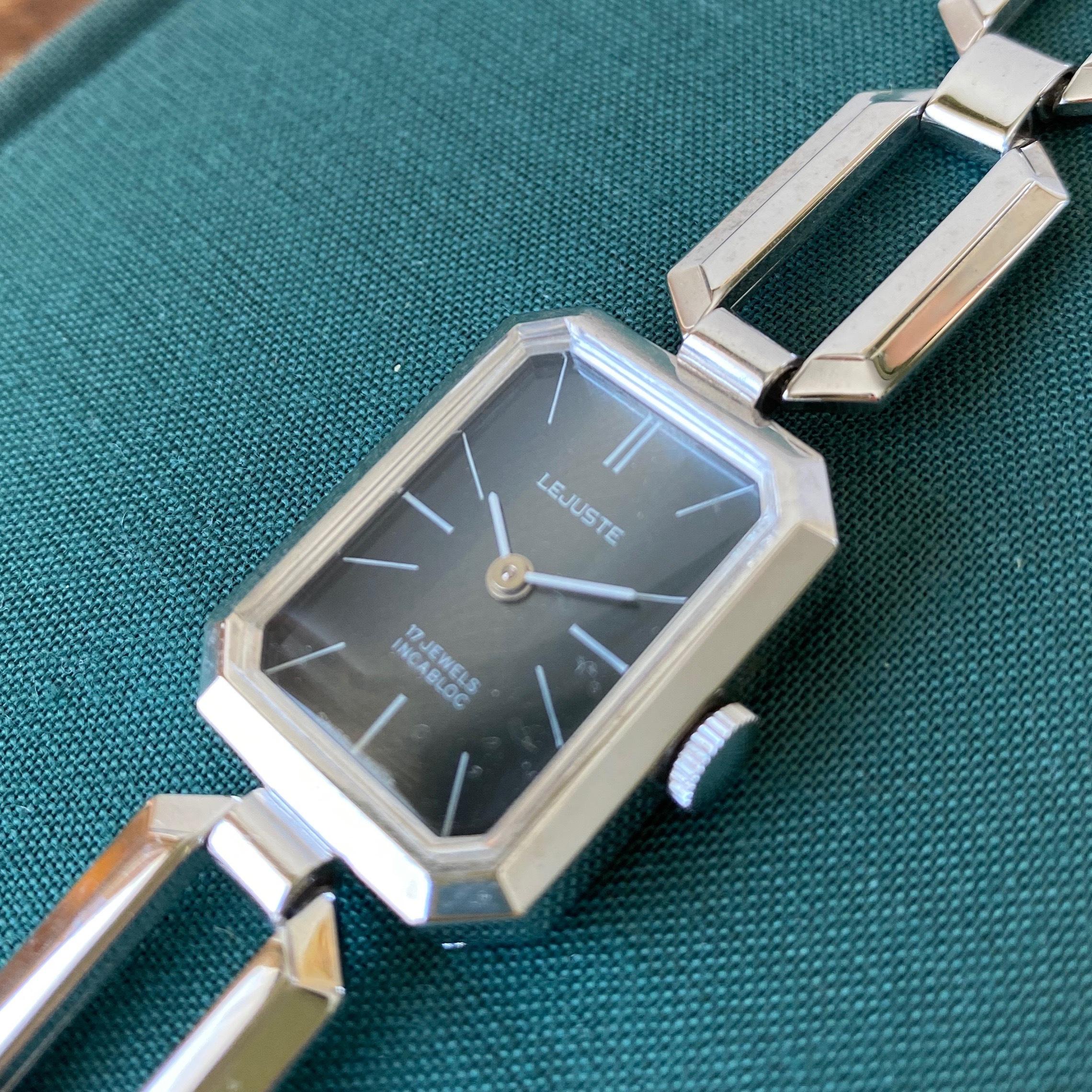 Swiss1960年代手巻き式腕時計(ブルーグレイ・スクエア) / ac0045