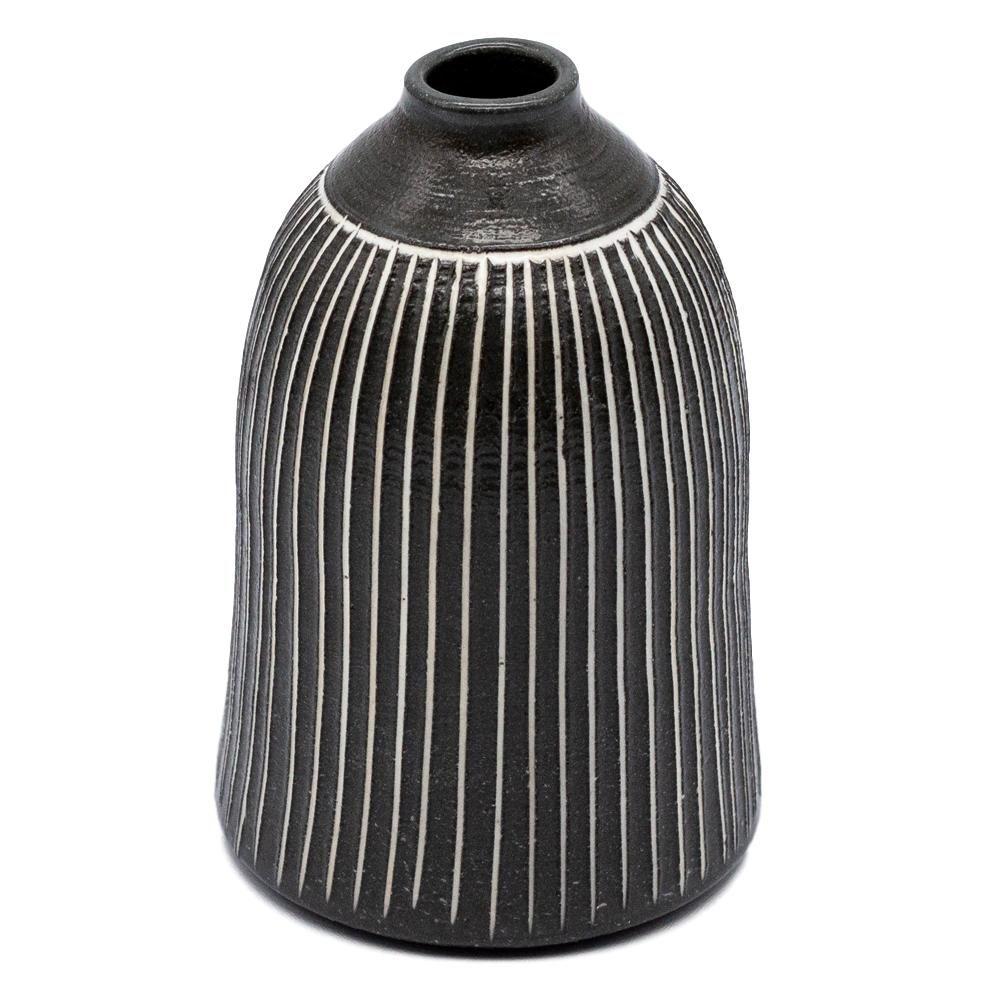 京焼 清水焼 関陶房 一輪挿し 花瓶 小 高さ約10cm 京さび黒十草 246235