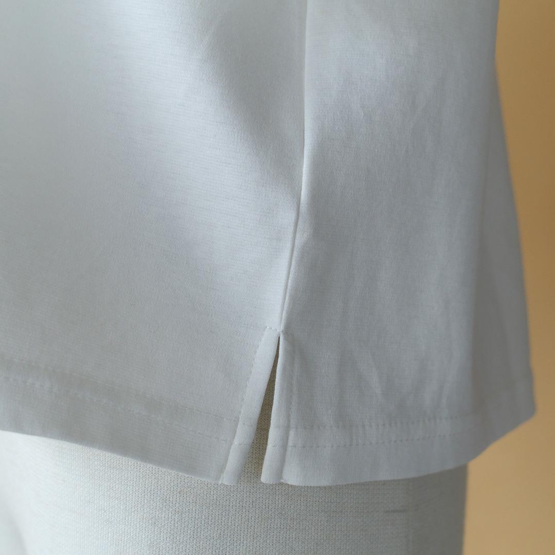 Gauze# ガーゼ G503 switching wide T-shirt スウィッチングワイドTシャツ・ホワイト