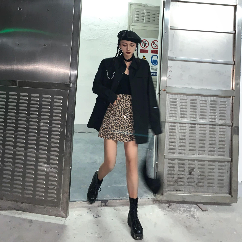 a-line leopard skirt
