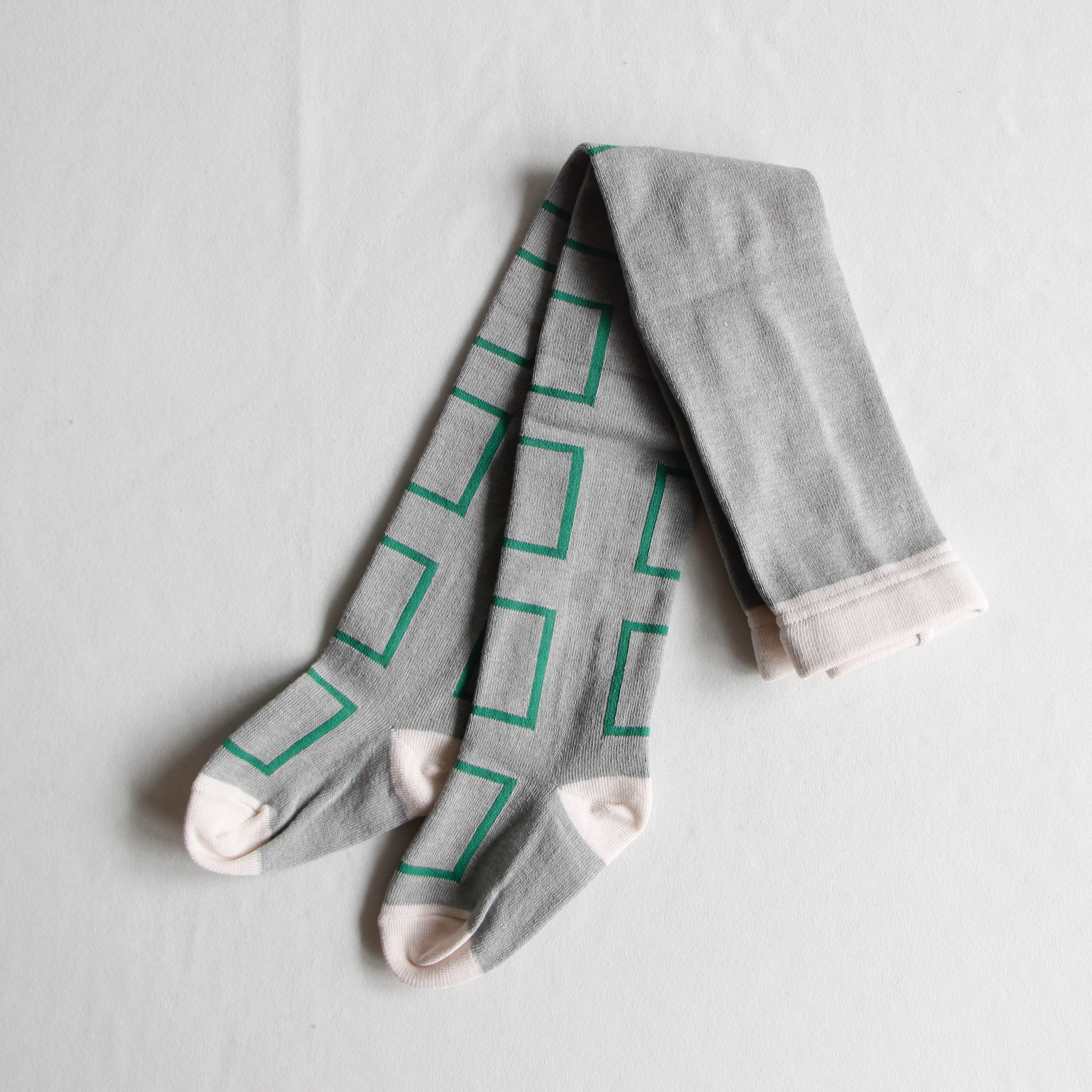 《frankygrow 2020AW》SQUARE TIGHTS / gray × green × square / S・M・L