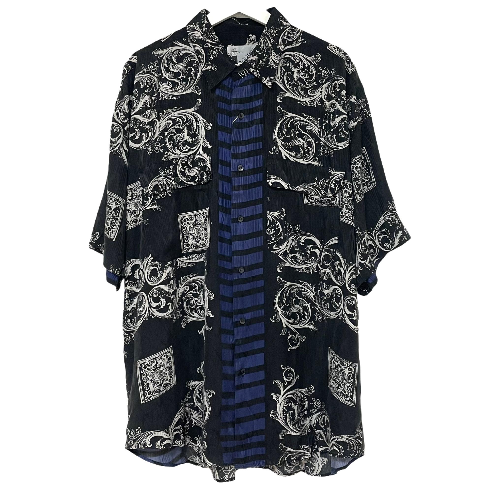 Dead Stock 90's GOOUCH Silk Shirt 【 PLUM Short Sleeve 】