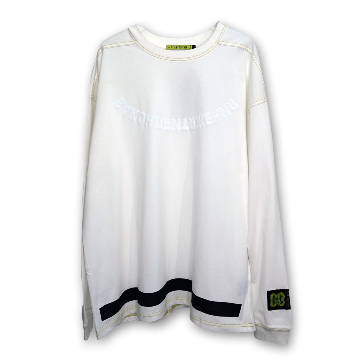 OVERSIZED ATTRACTION L/S TEE - WHITE/YELLOW