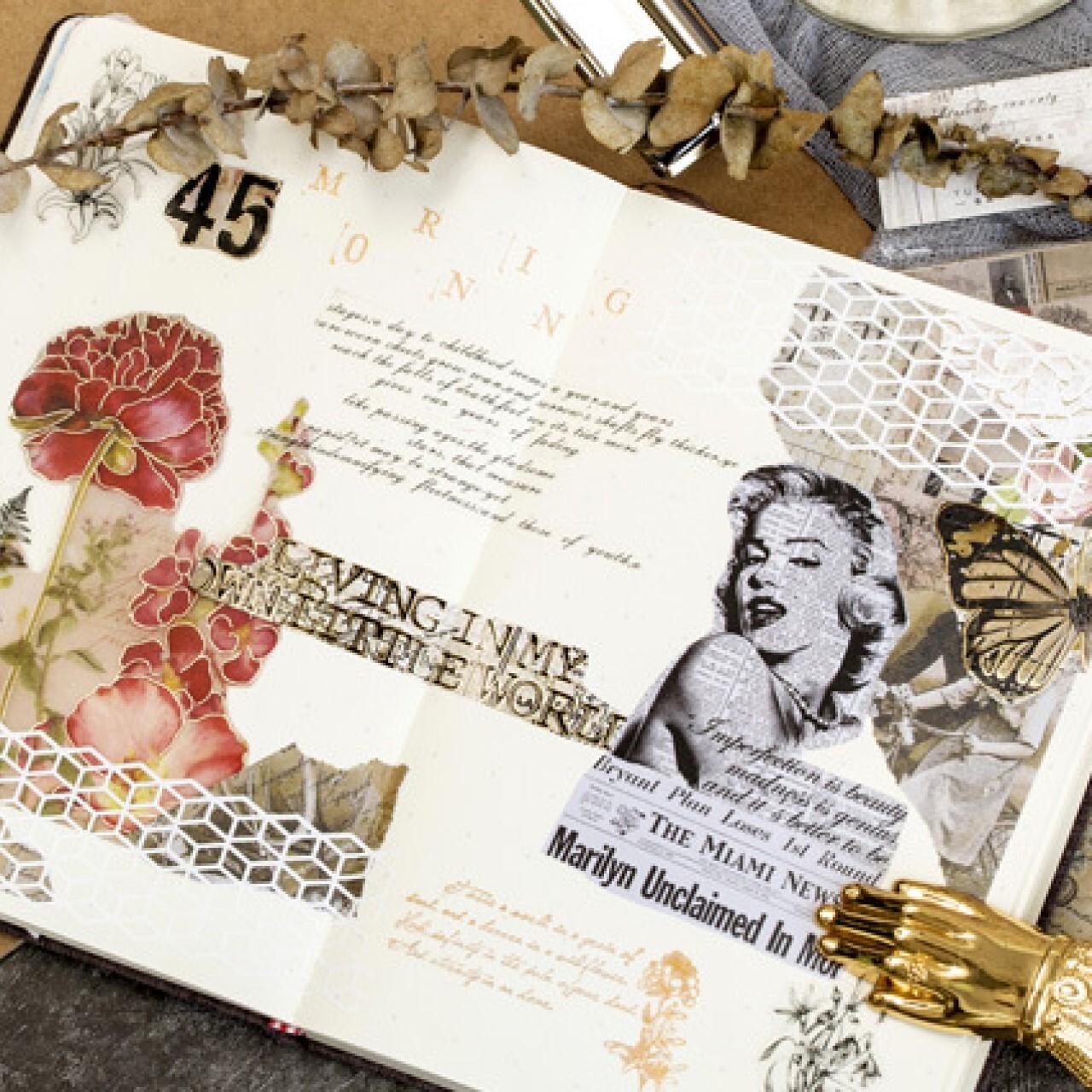 素材紙 全4種 レトロ デザインペーパー 海外 硫酸紙 背景紙 シール コラージュ ジャンクジャーナル A27
