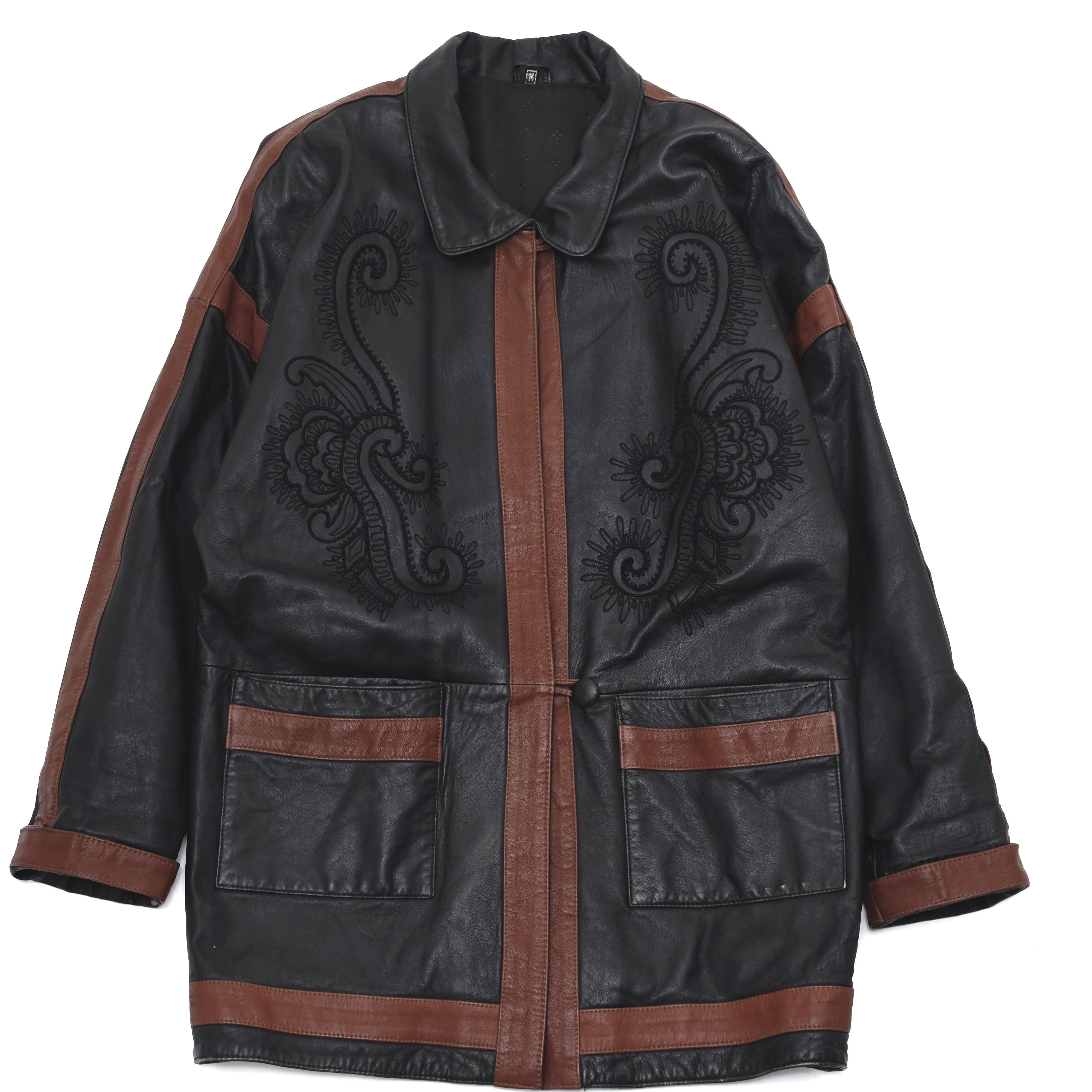 Unisex embroidery leather design coat