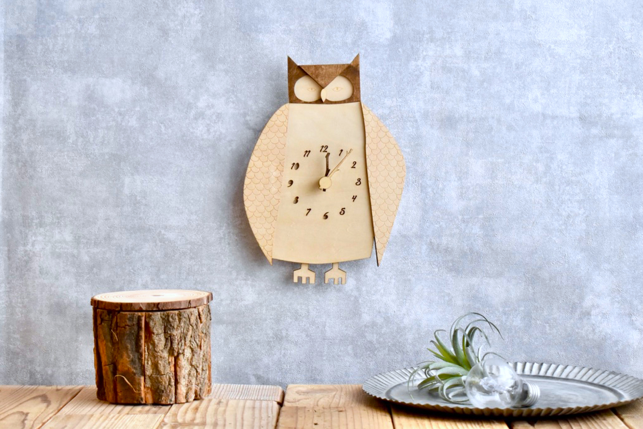 コノハズクの時計 木製 掛け時計