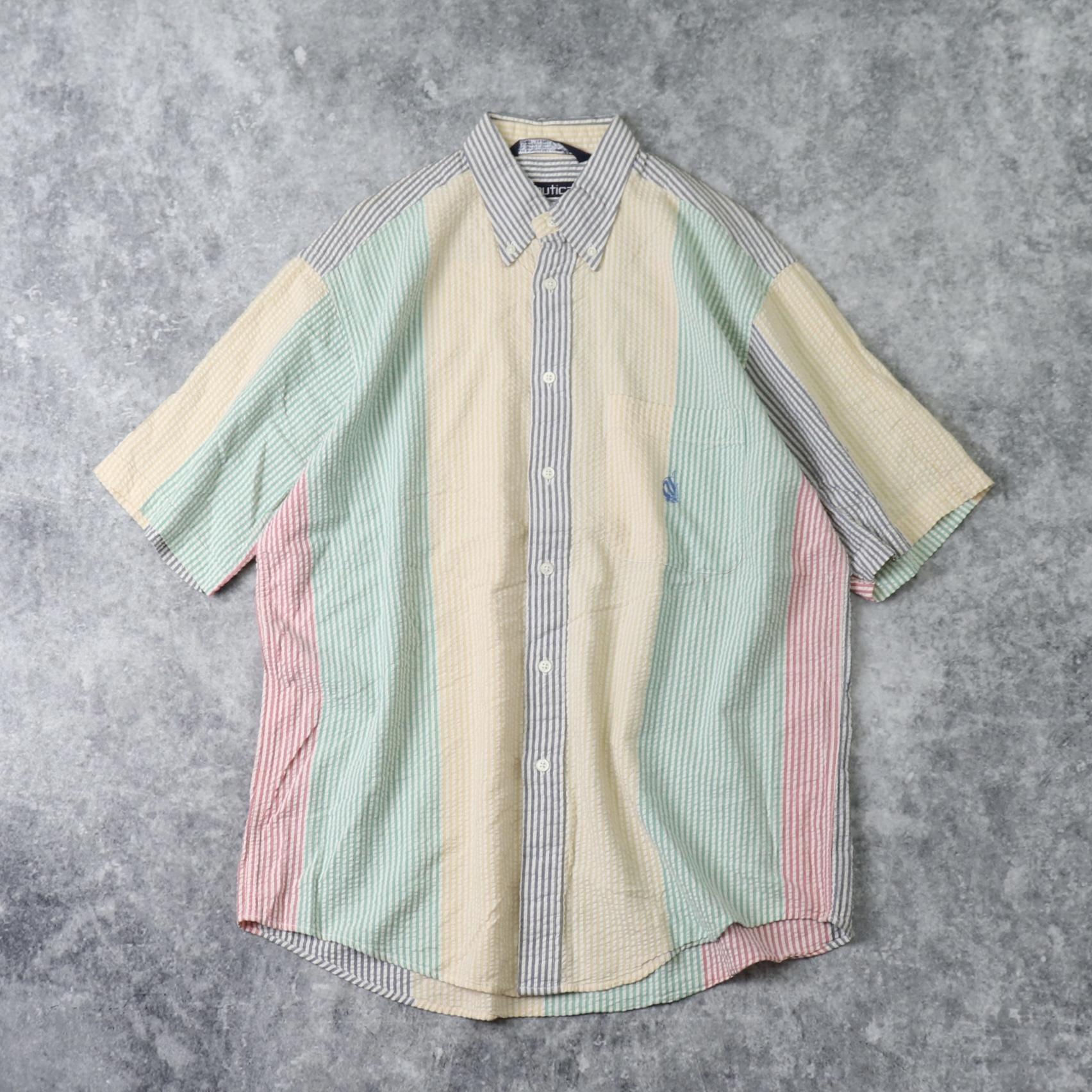 "1990s  "" nautica ""  S/S  Seersucker  Shirts   M A337"