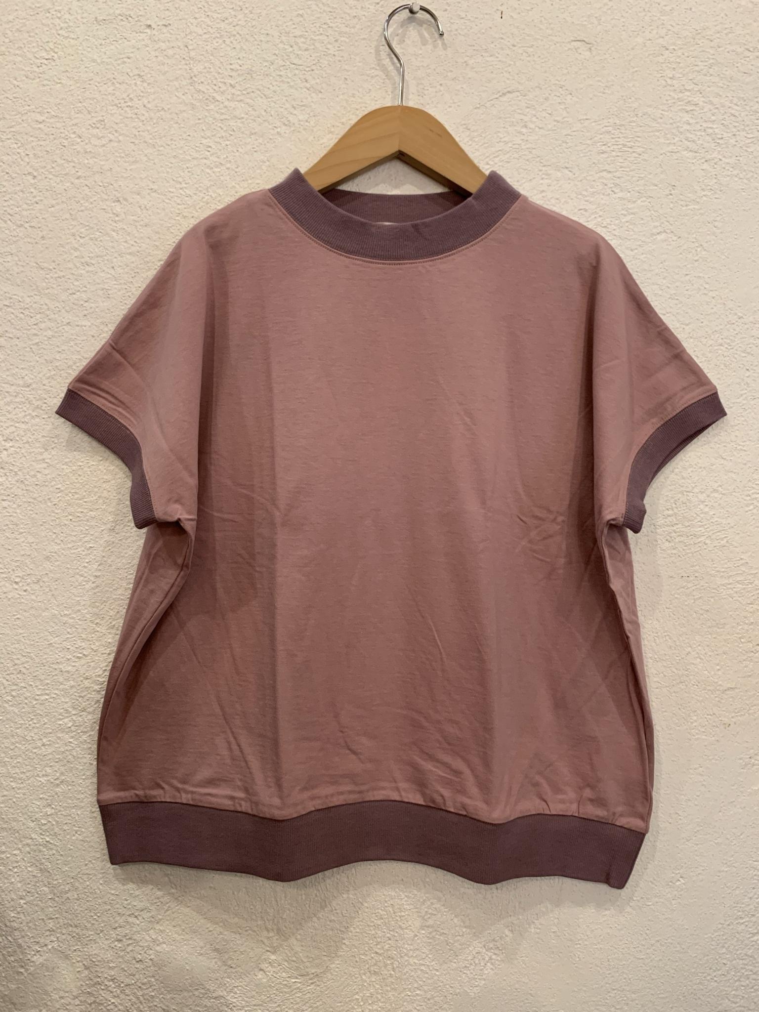 nachukara/リブドッキング半袖Tシャツ ピンク