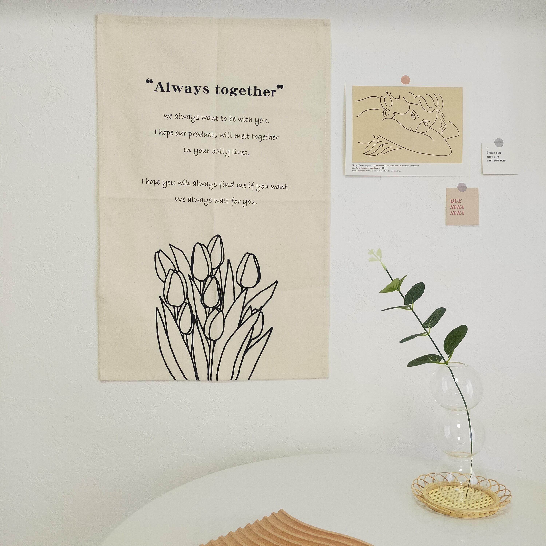 【送料無料】即納 ファブリックポスター|チューリップ畑 韓国インテリア 韓国雑貨