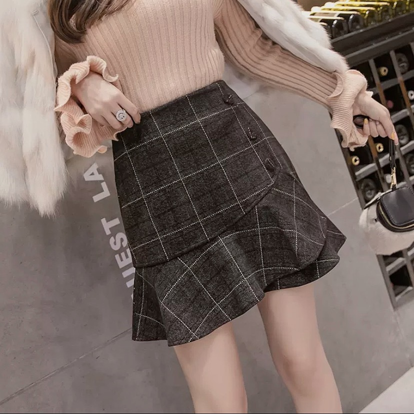 lady frill check skirt 3color