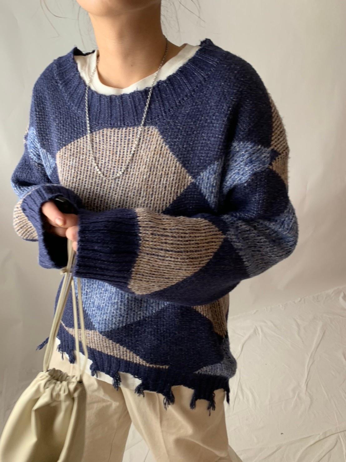 【asyu】damage argyle knit