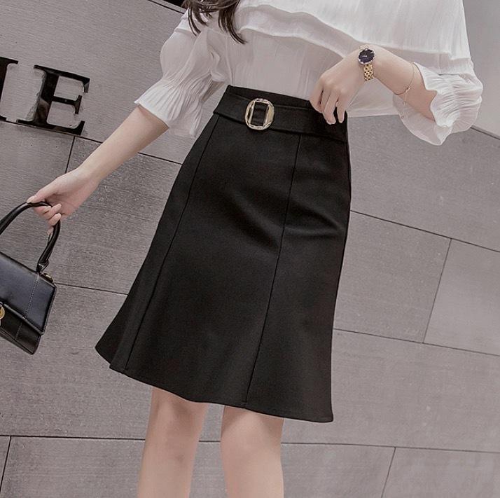 belt frill tight skirt