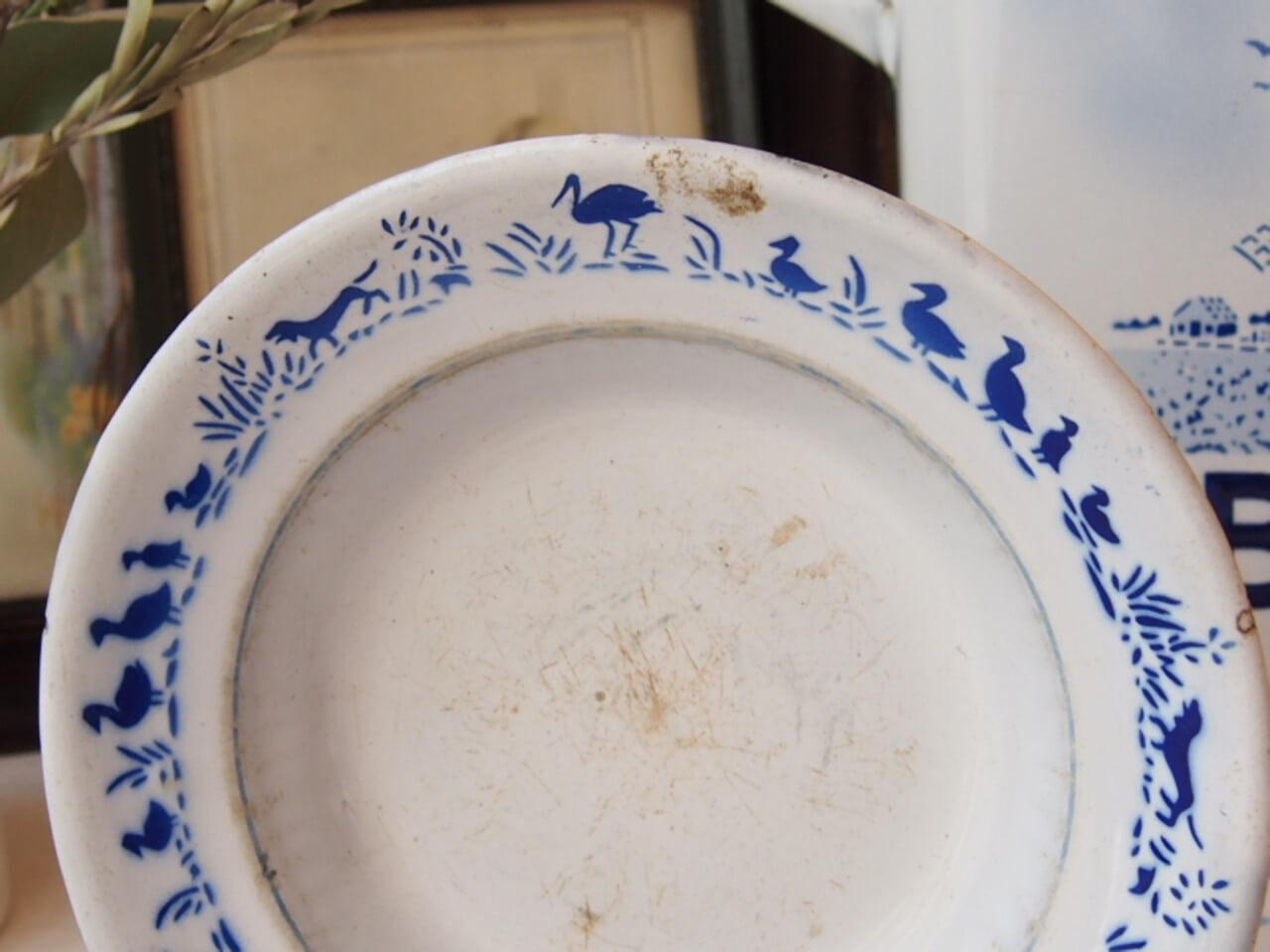 アンティーク 琺瑯ステンシル皿
