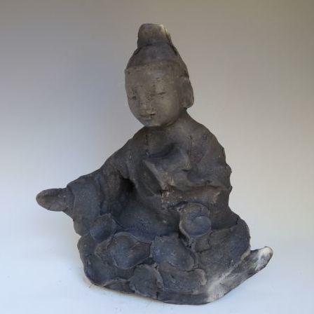 黒陶の仏像 (船越保氏作)F45
