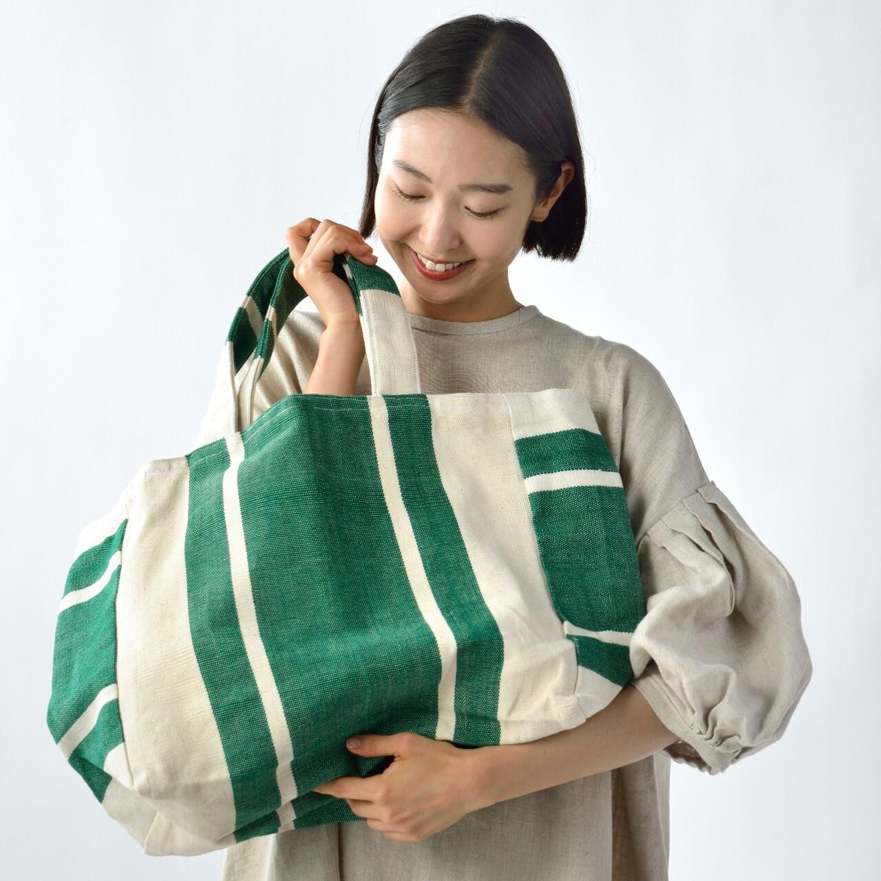 手織りビーチバック グリーンL(再入荷)