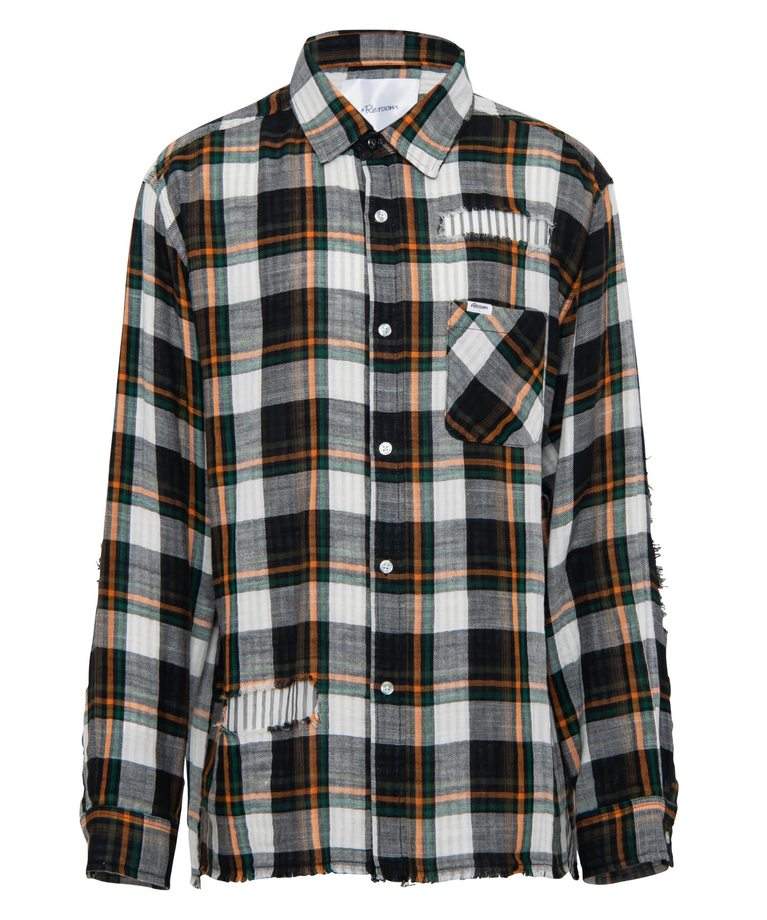 W GAUZE VINTAGE CHECK BIG SHIRTS[RES048]