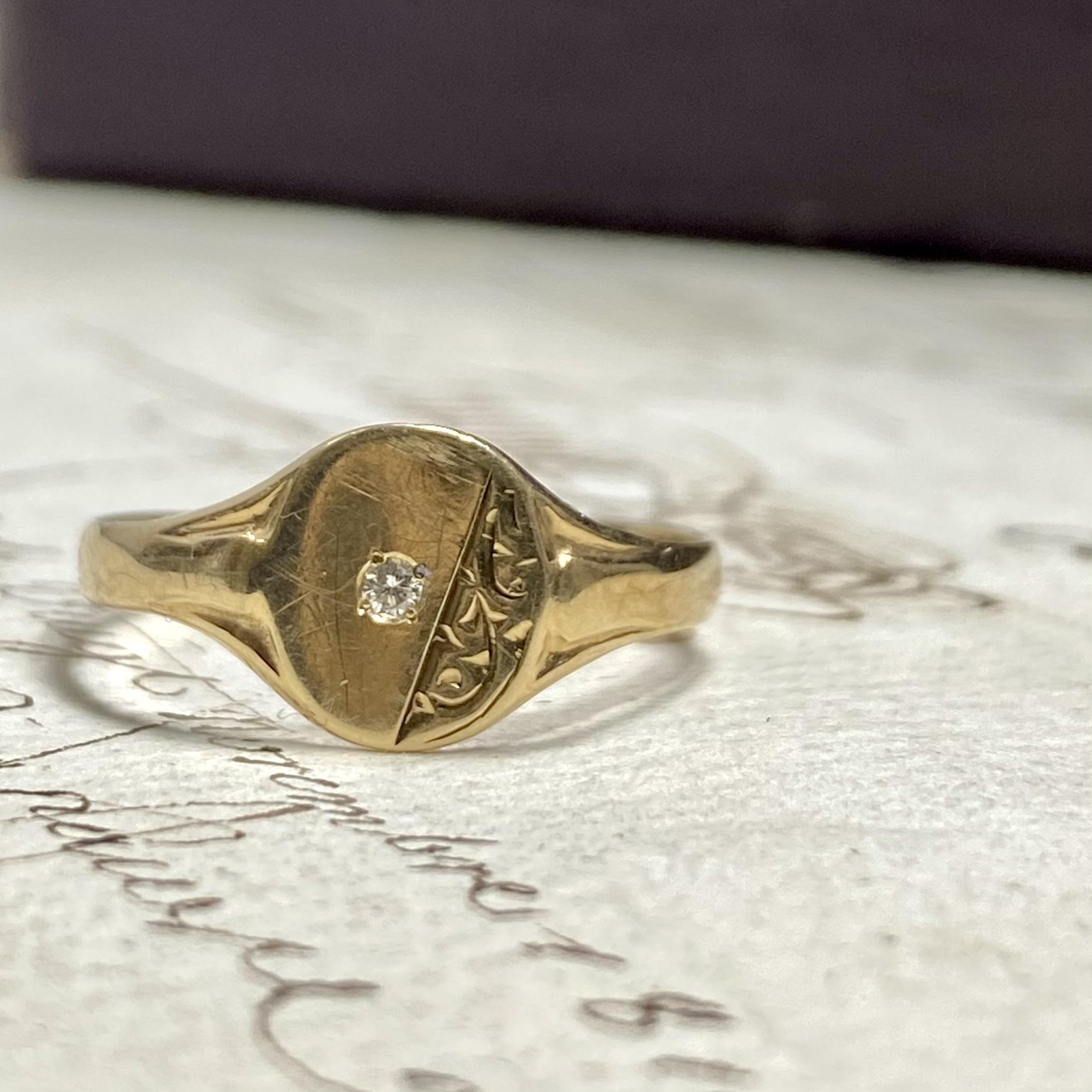 イギリスヴィンテージ シグネットリング1982 ダイヤモンド