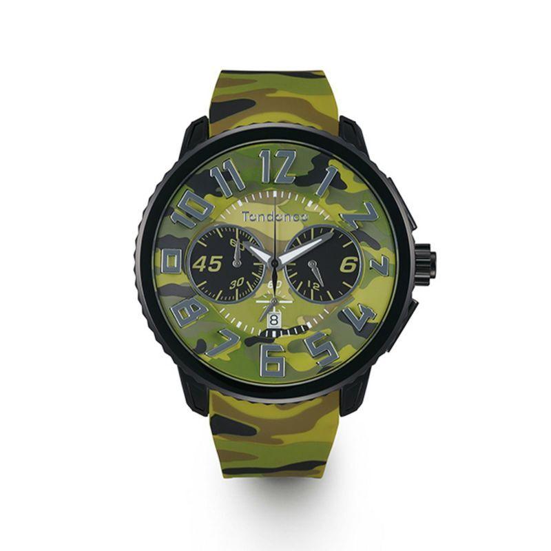 【Tendence テンデンス】TY046021 GULLIVER Round CAMO ガリバーラウンドカモ(グリーン)/国内正規品 腕時計