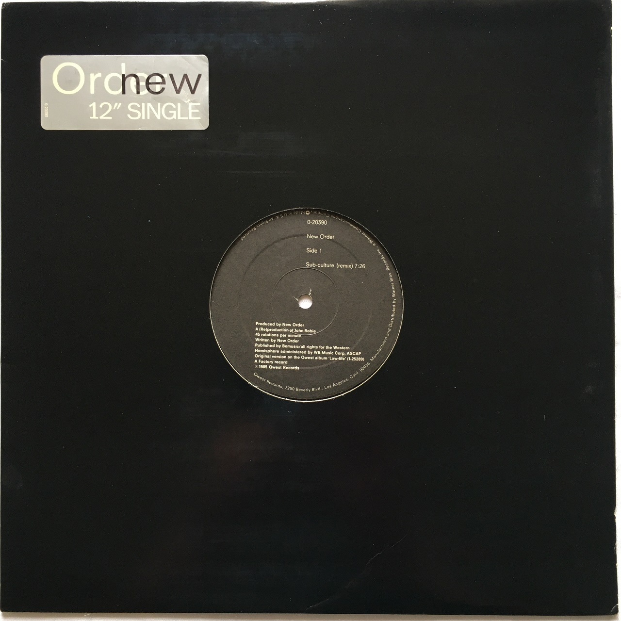 【12inch・米盤】New Order / Sub-culture