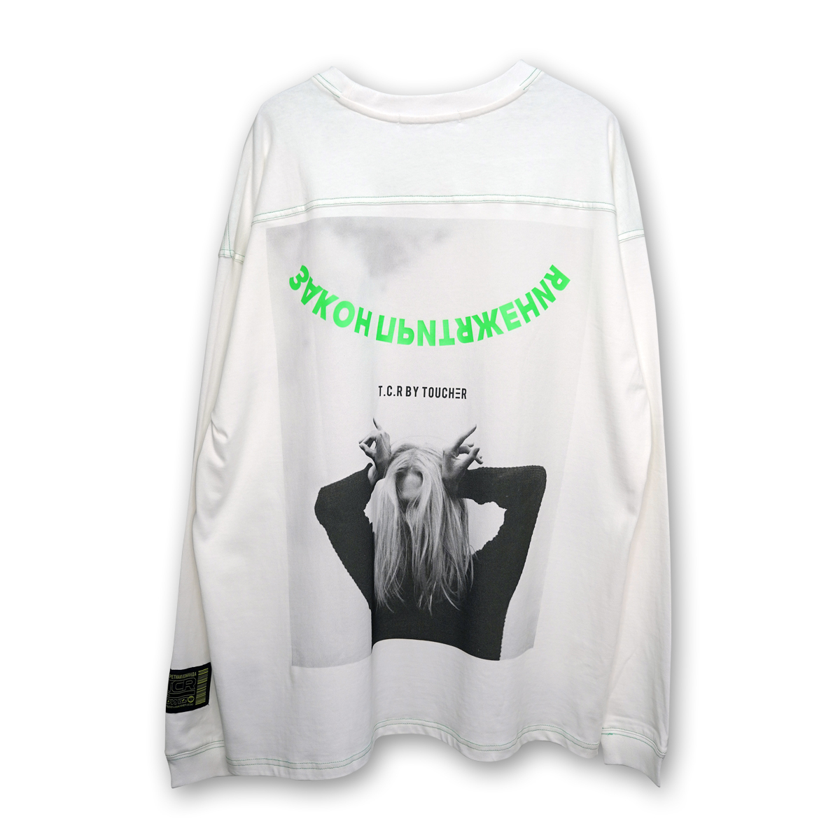 OVERSIZED ATTRACTION PHOTO L/S TEE - WHITE/GREEN
