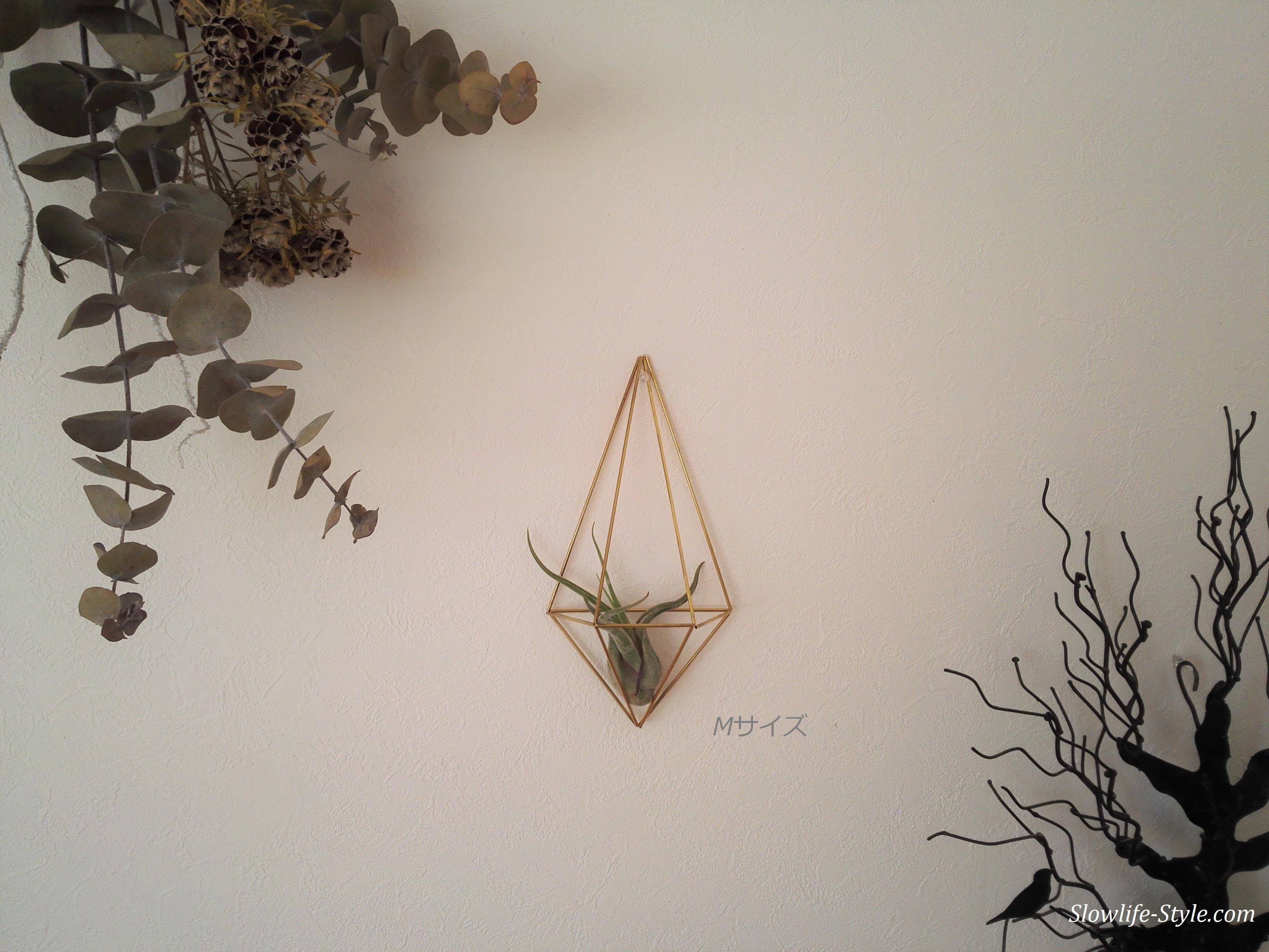 北欧インテリア「真鍮製のヒンメリ 壁掛けエアープランツホルダー Mサイズ」