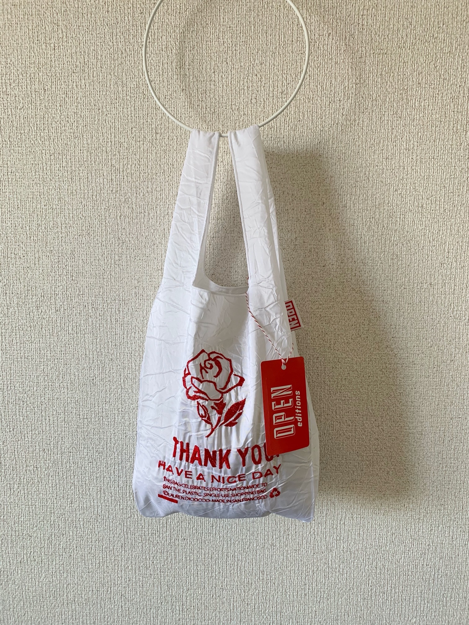 【OPEN EDITIONS/ 送料無料】THANK YOU MINI エコバッグ/ ROSE White