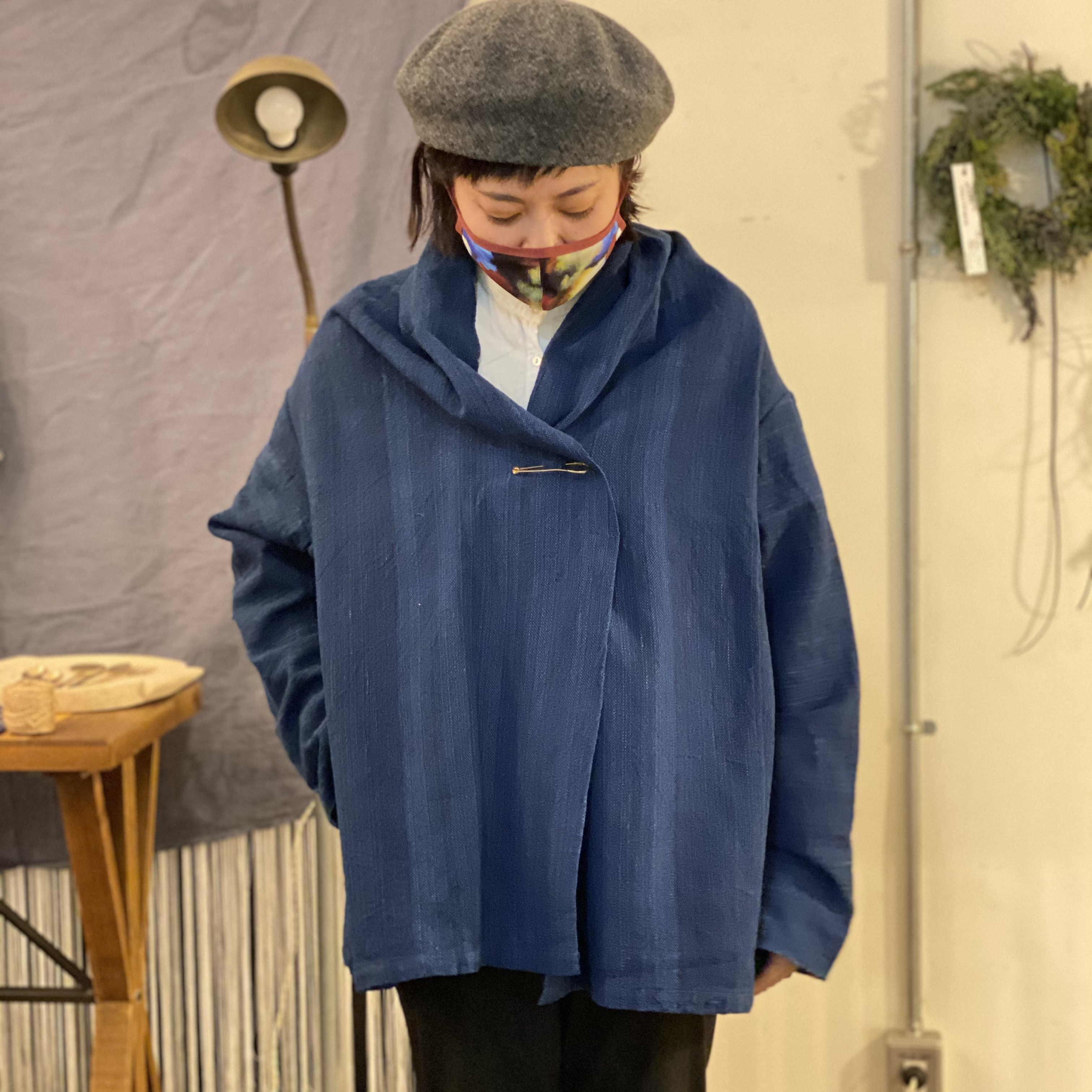 [ジャケット:濃藍]中厚ドソティ手織り