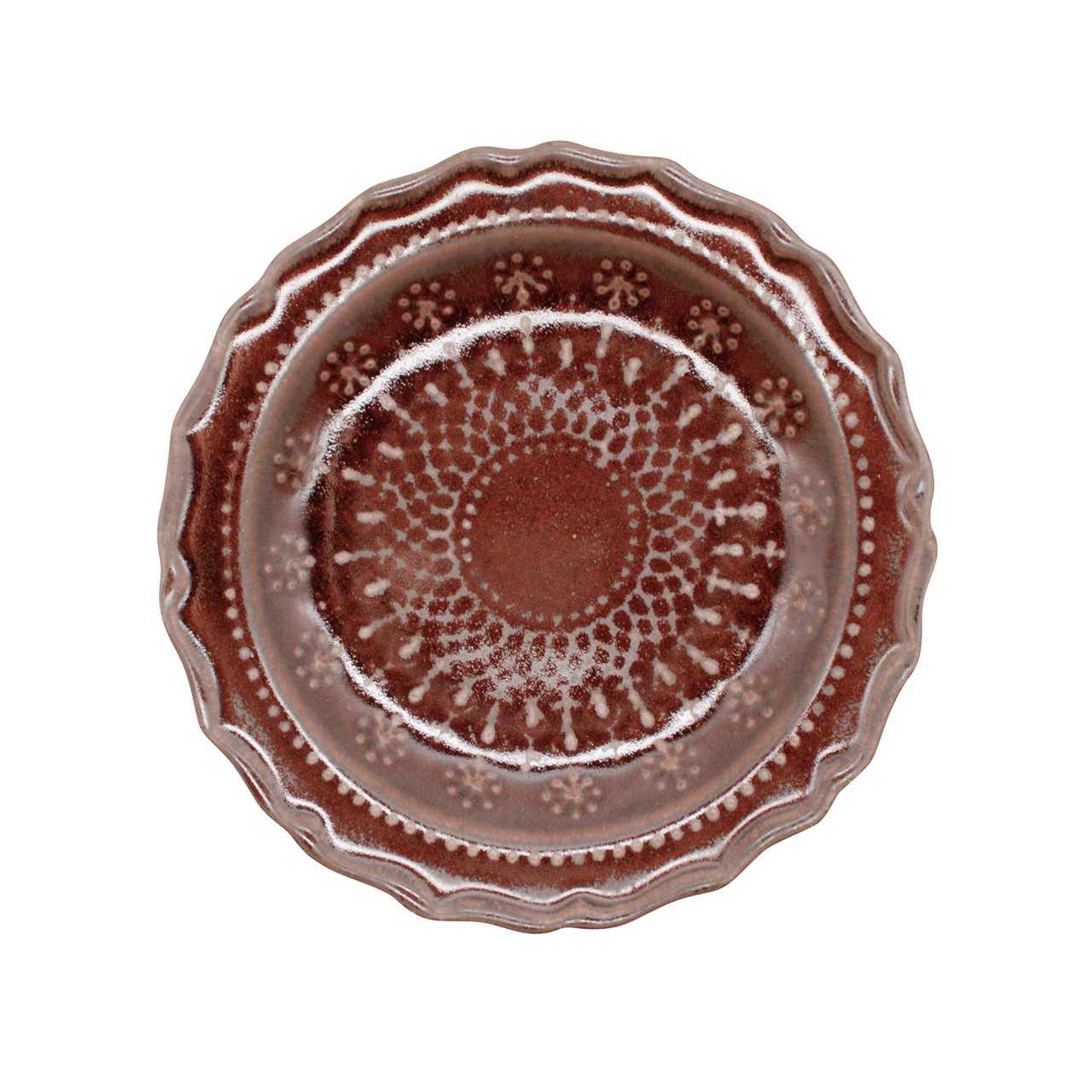 益子焼 わかさま陶芸 「フレンチレース」 プレート 皿 S 約16cm ブラウン 256029