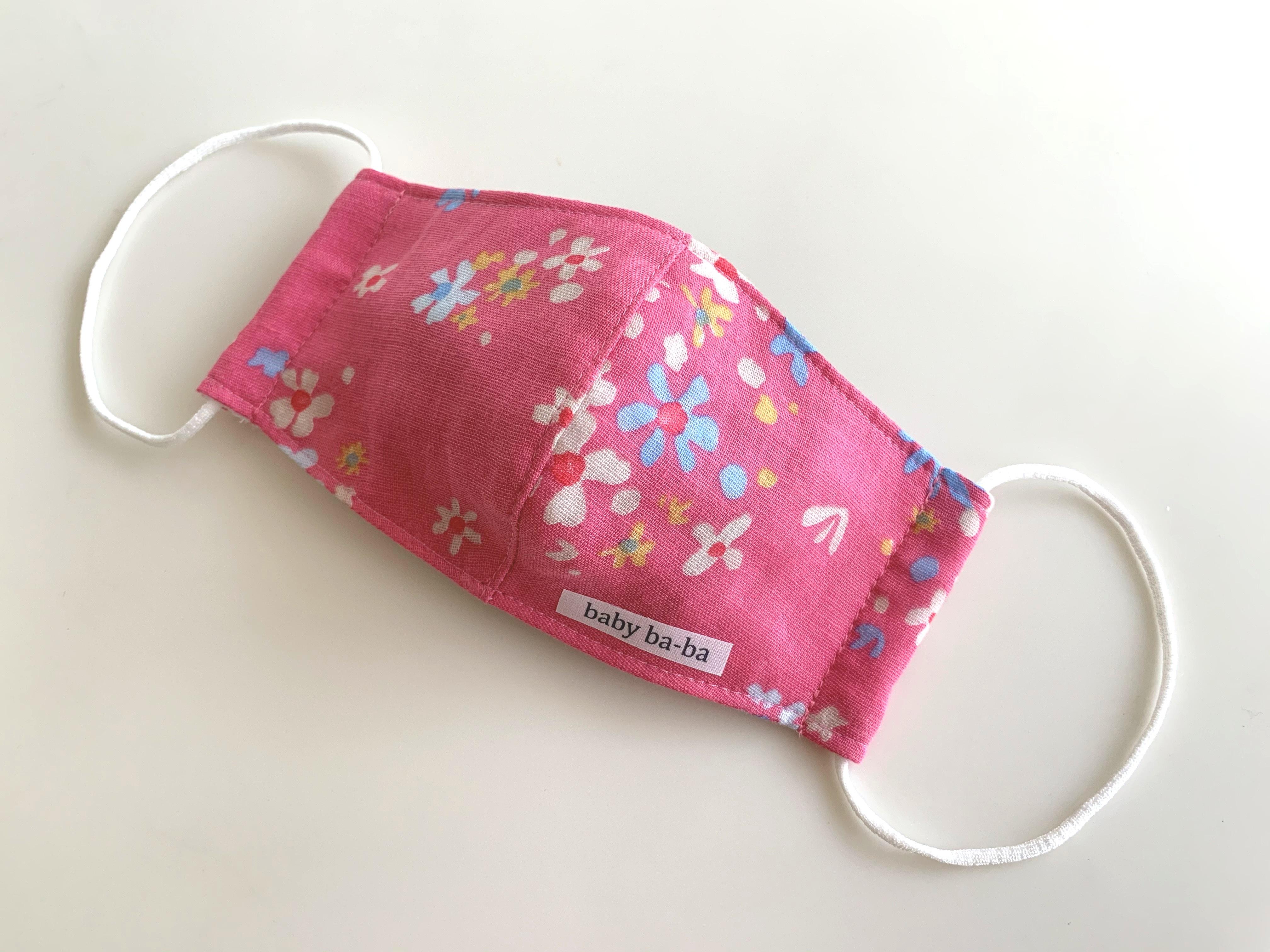 立体マスク 幼児サイズ(3歳~6歳・ピンク花柄