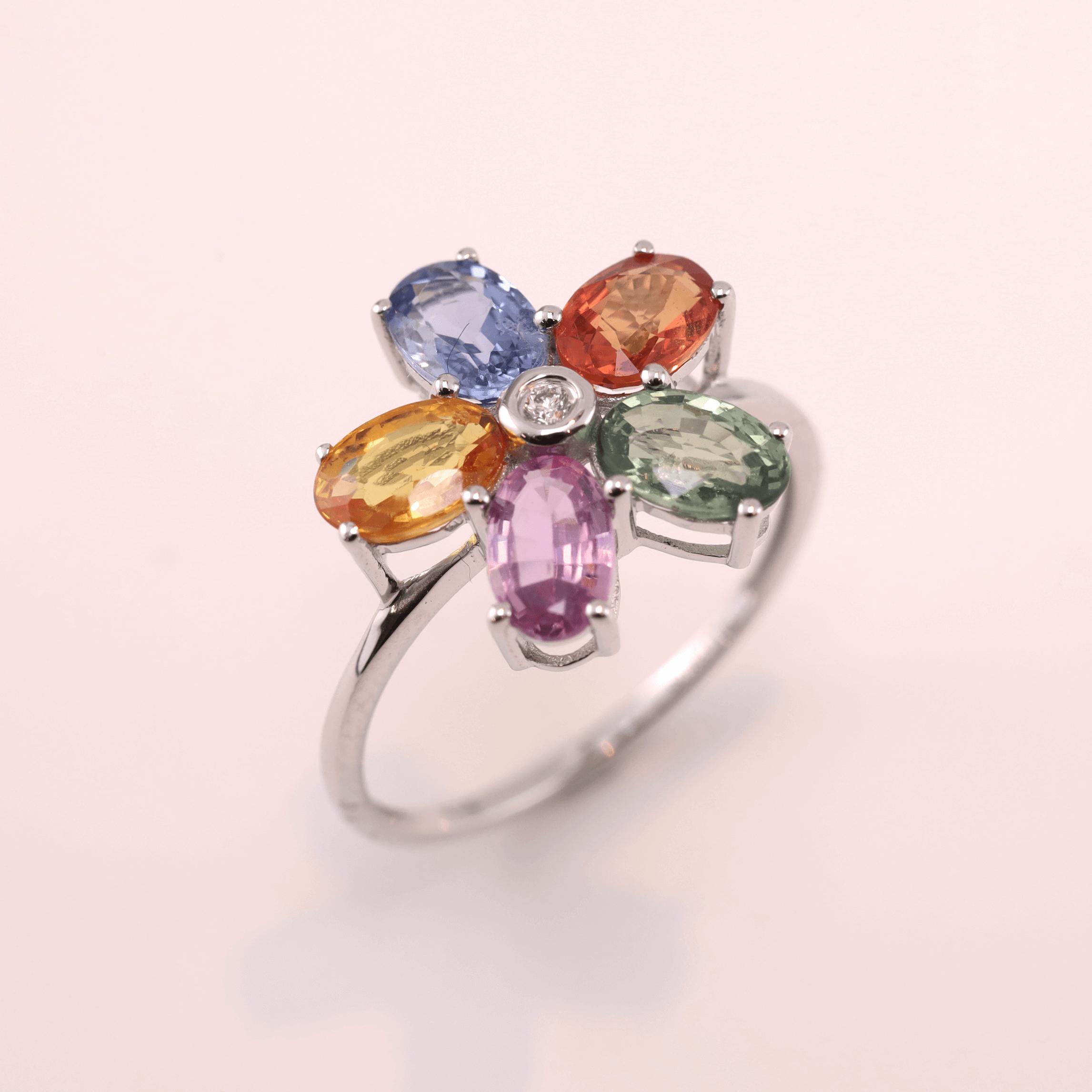 Multi Color Sapphire Ring -Flower