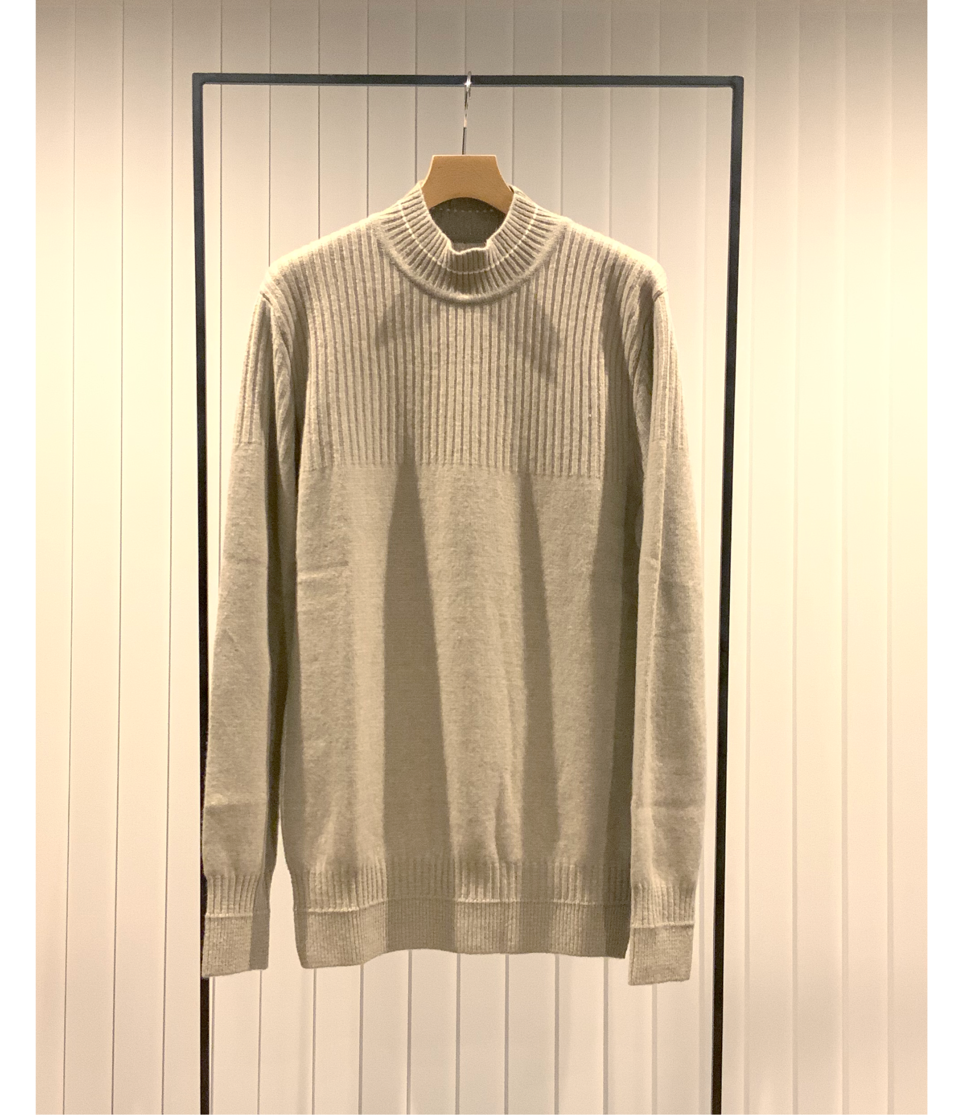 Switching Stiched Mock-neck Sweater / Greige