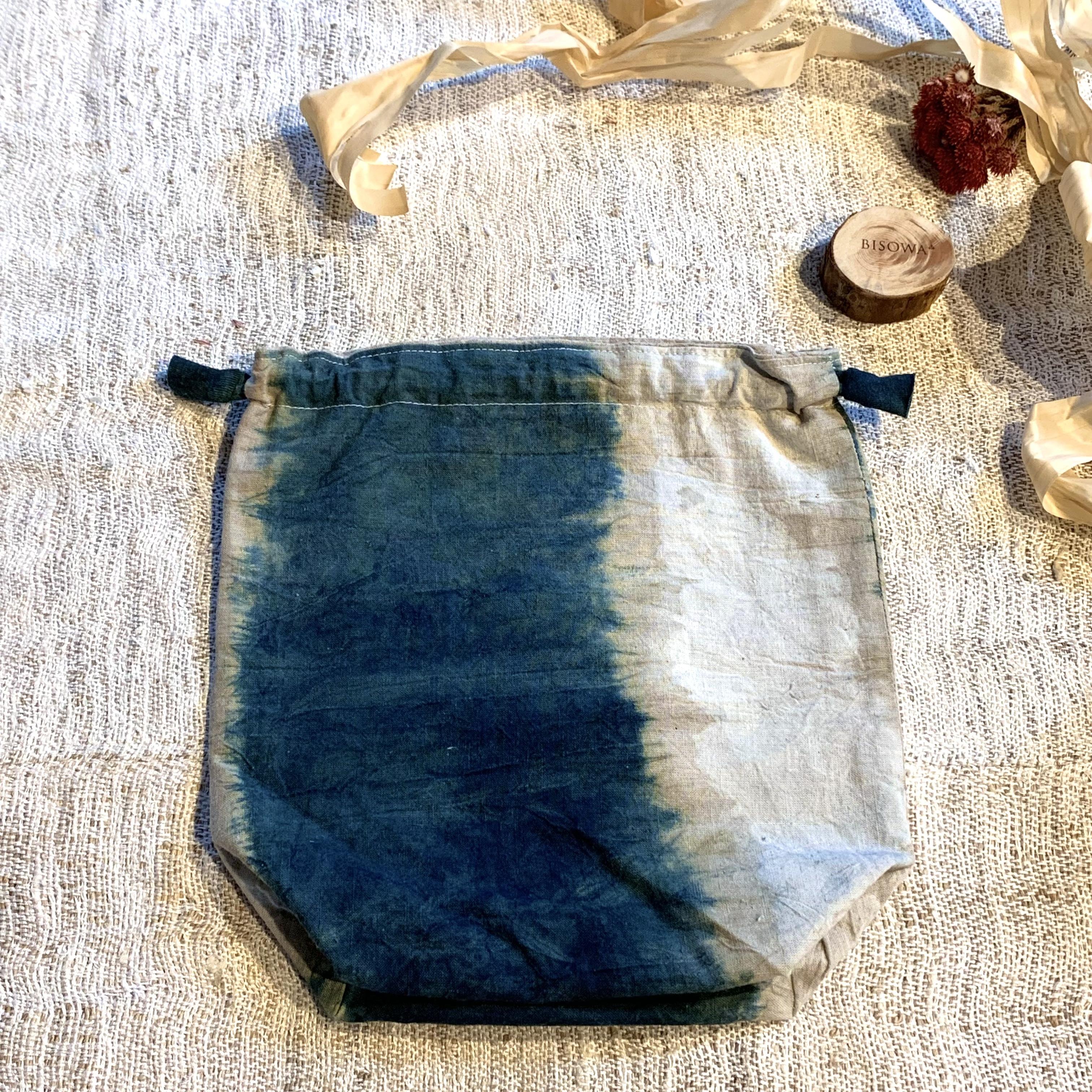 【天然素材・草木染め】巾着ポーチ ヘンプコットン L