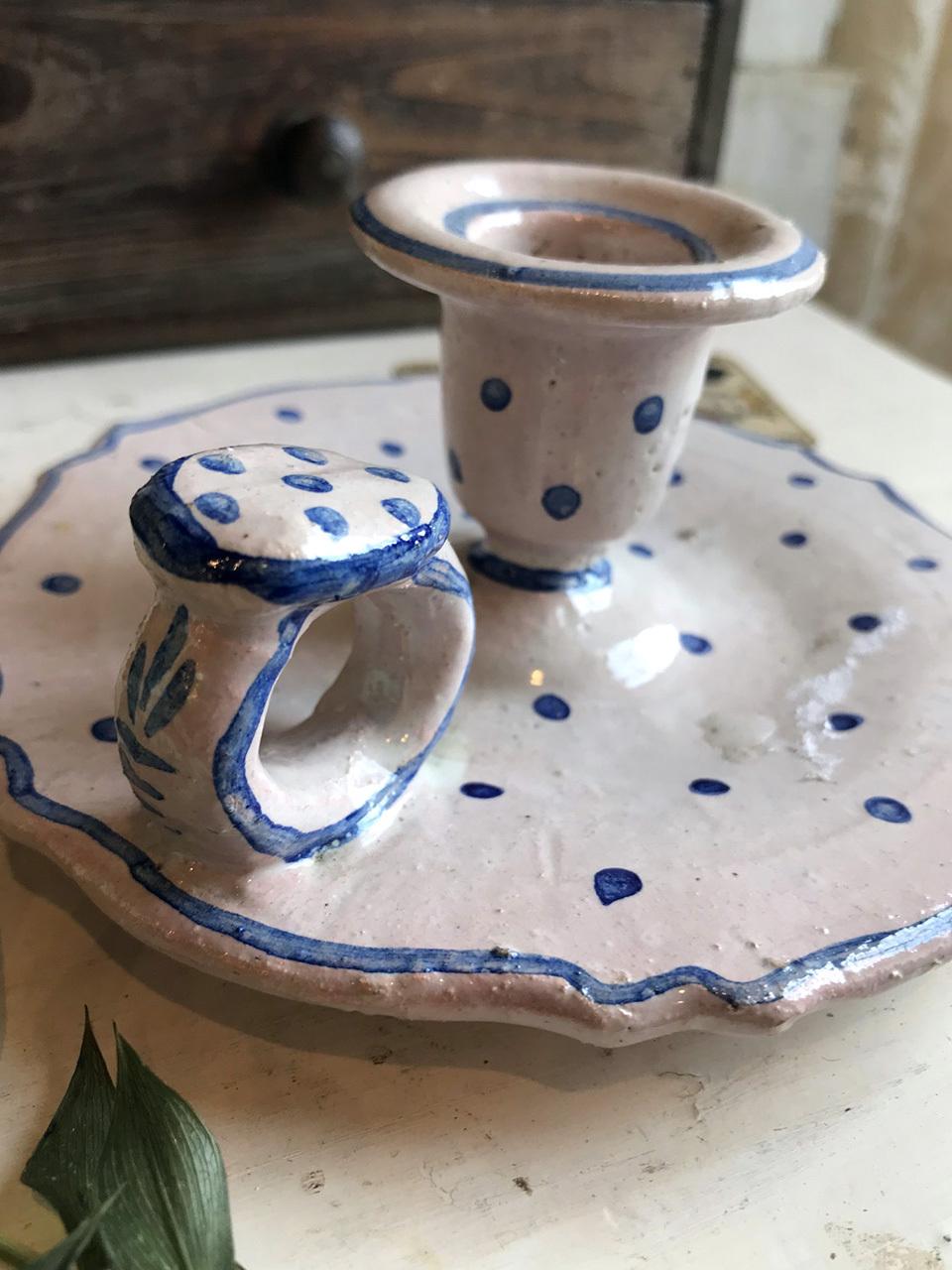 陶器 キャンドルホルダー ブルー 水玉 ドット柄