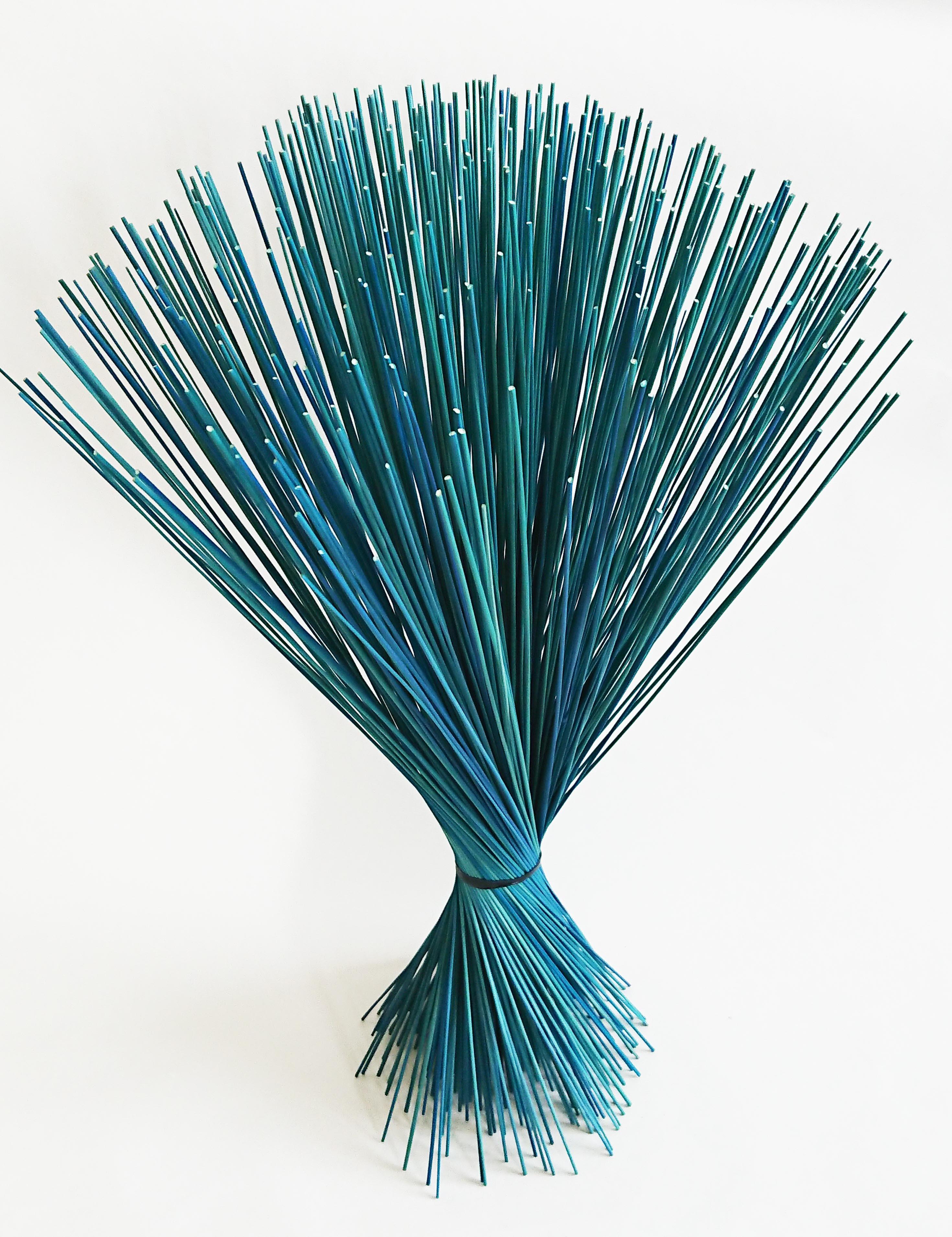 【イ草フラワー ライトブルー】Rush Grass Flower Light Blue 35cm