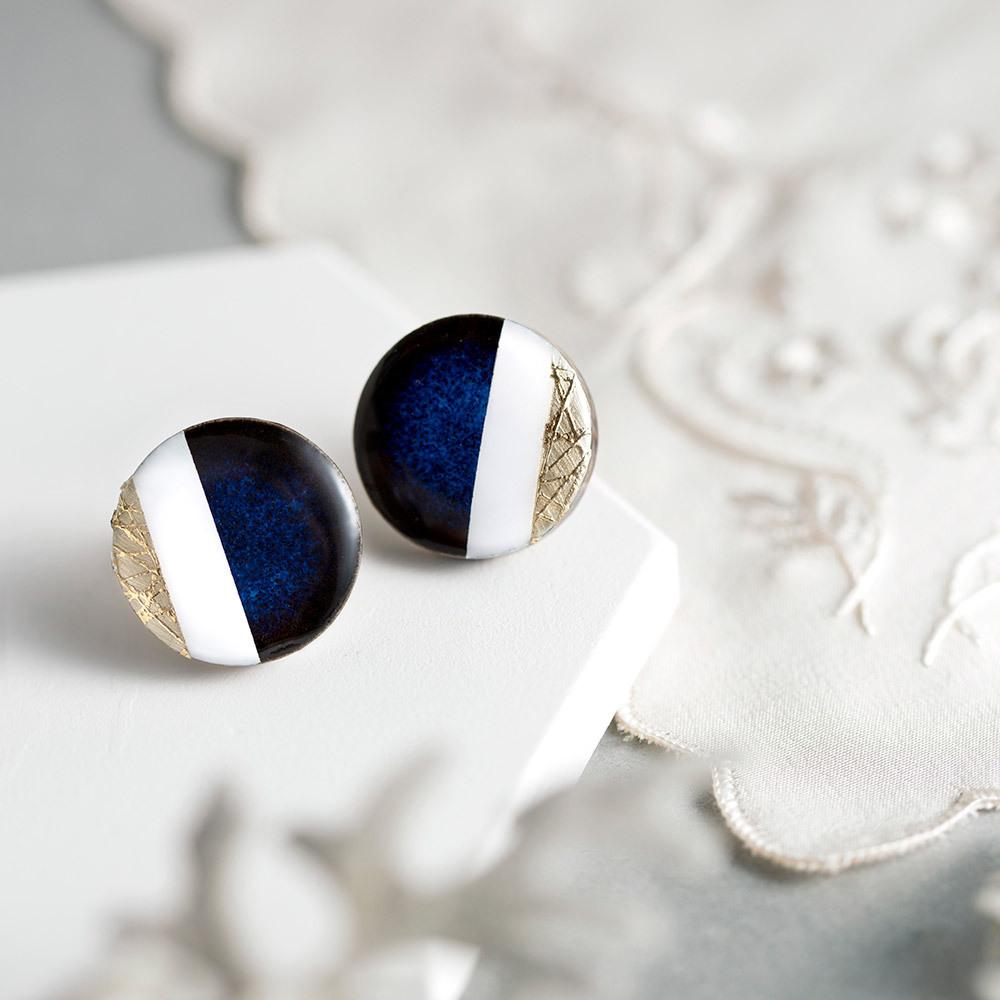 クラシックライン 藍色  陶器 ピアス イヤリング 美濃焼
