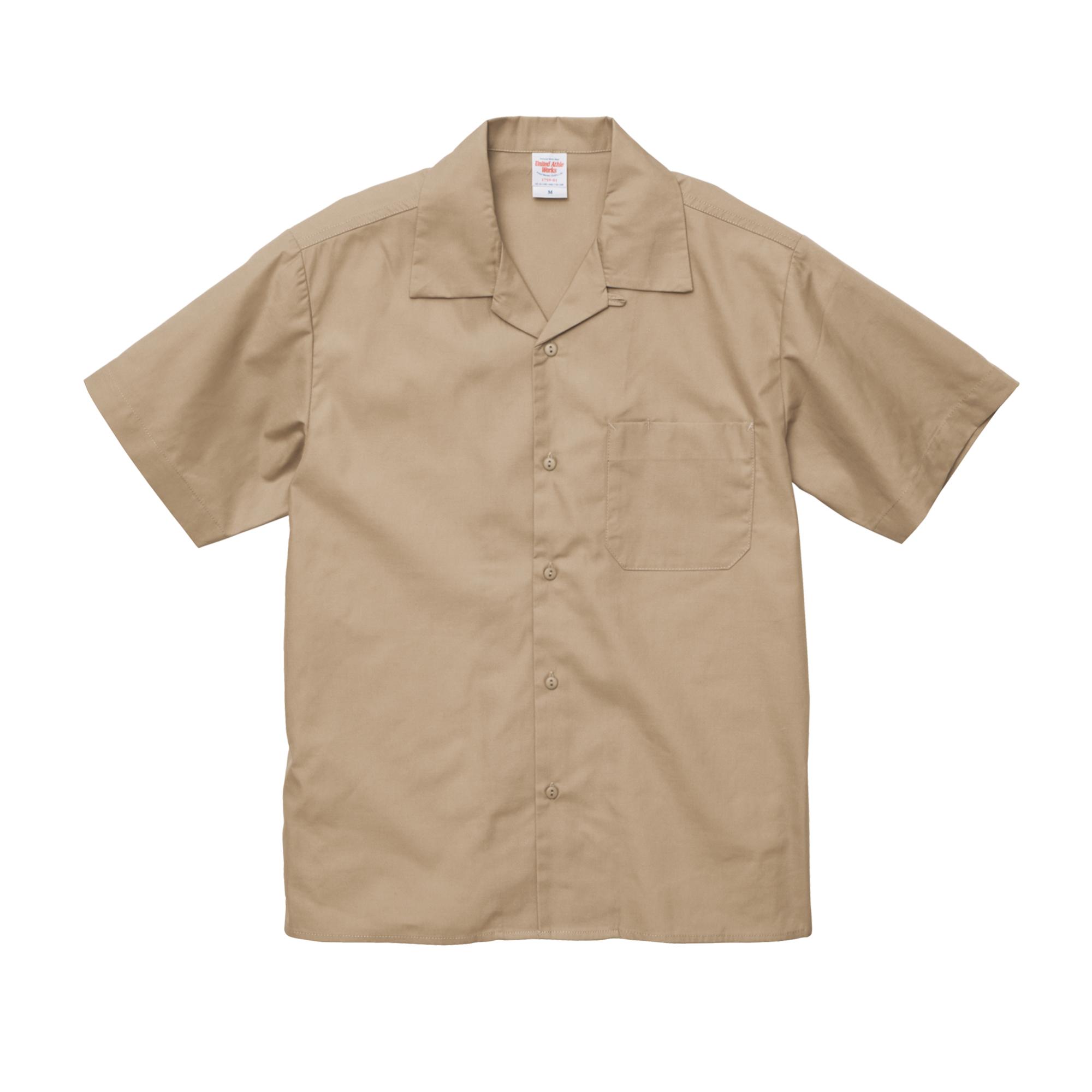 刺繍×ワークシャツ オープンカラータイプ
