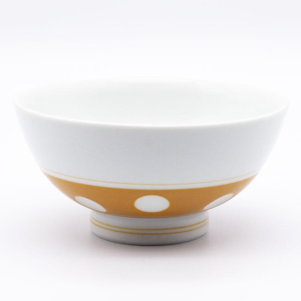 感器工房 吉田焼 副千窯 飯碗 水玉 オレンジ 03966